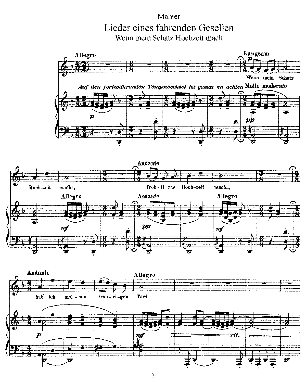 Free Sheet Music Public Domain: Lieder Eines Fahrenden Gesellen (Mahler, Gustav)