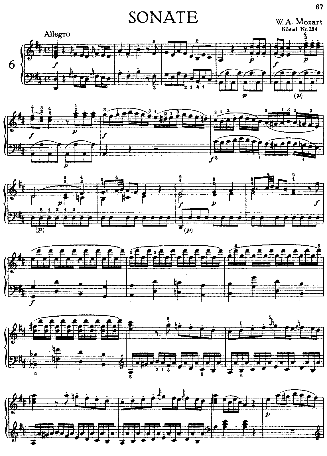 Piano sonata no6 in d major k284205b mozart wolfgang amadeus complete hexwebz Gallery