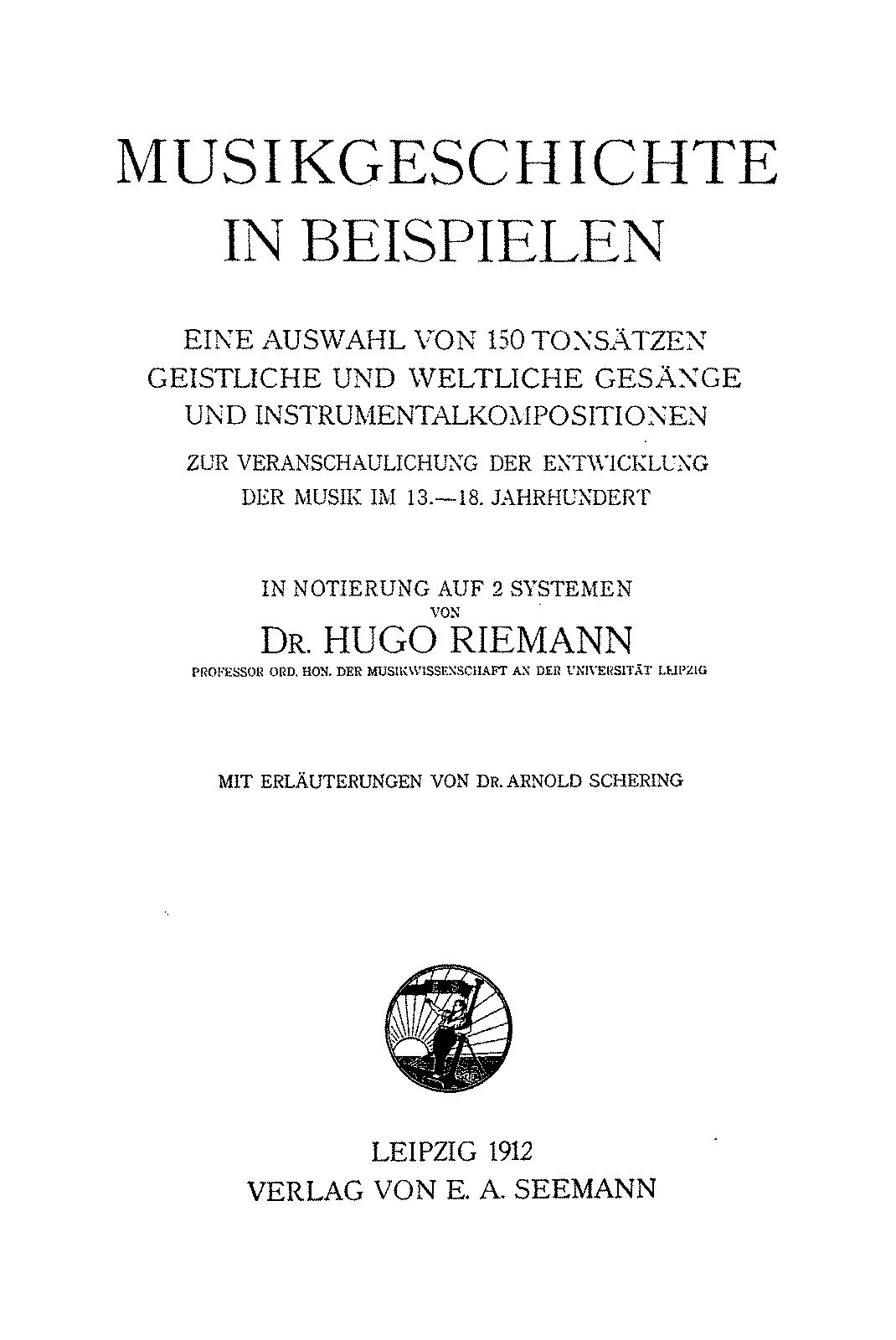 Musikgeschichte in Beispielen (Riemann, Hugo) - IMSLP/Petrucci Music ...