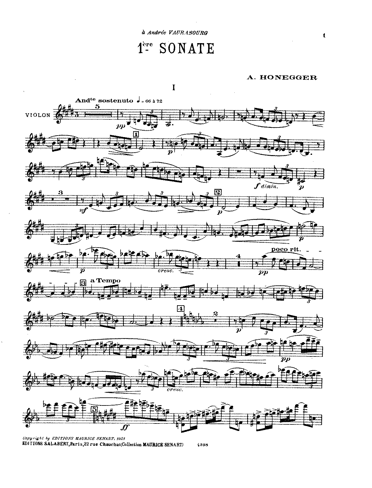 Honegger - Sonata No. 1 for Violin and Piano.pdf
