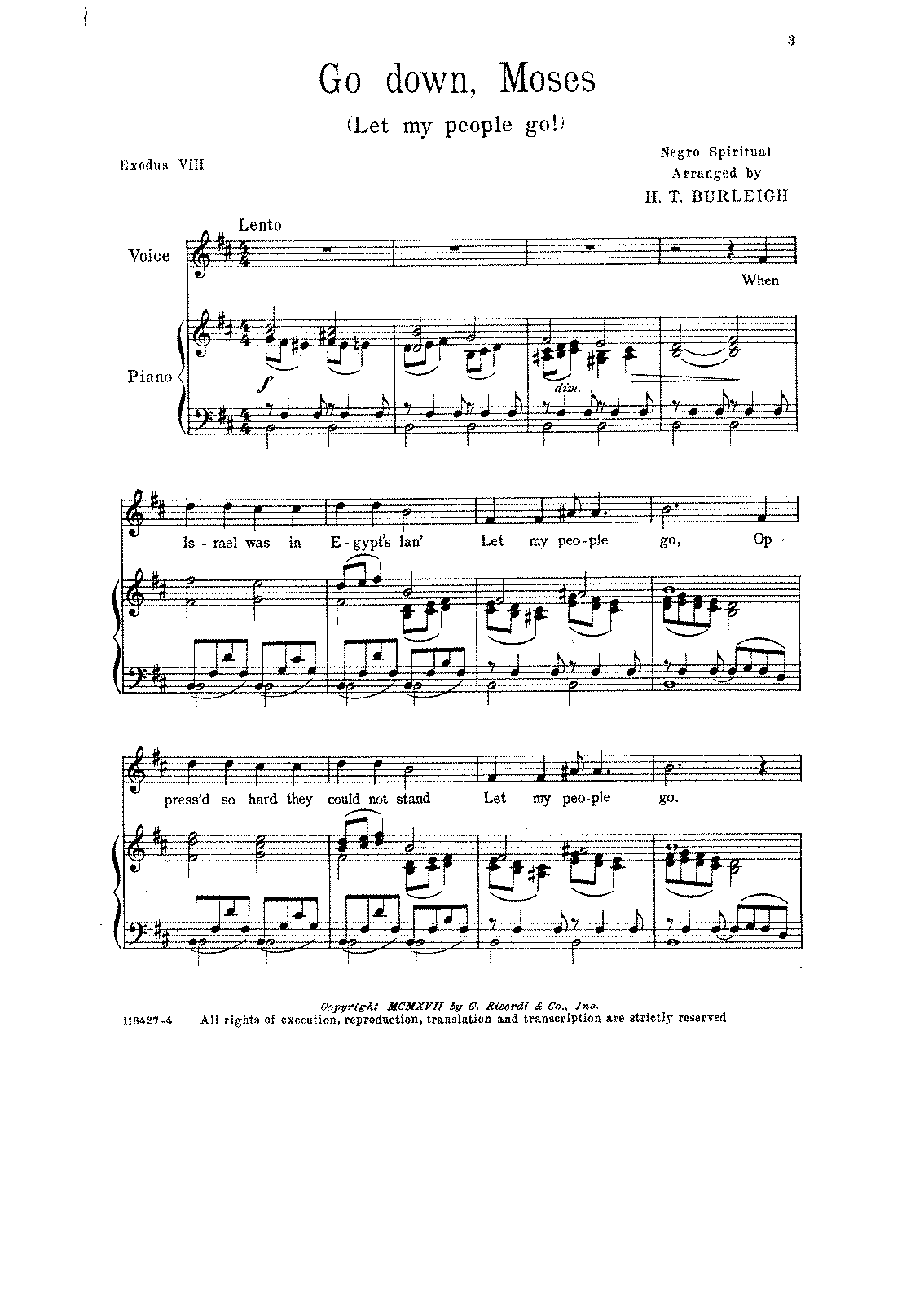 go down moses sheet music