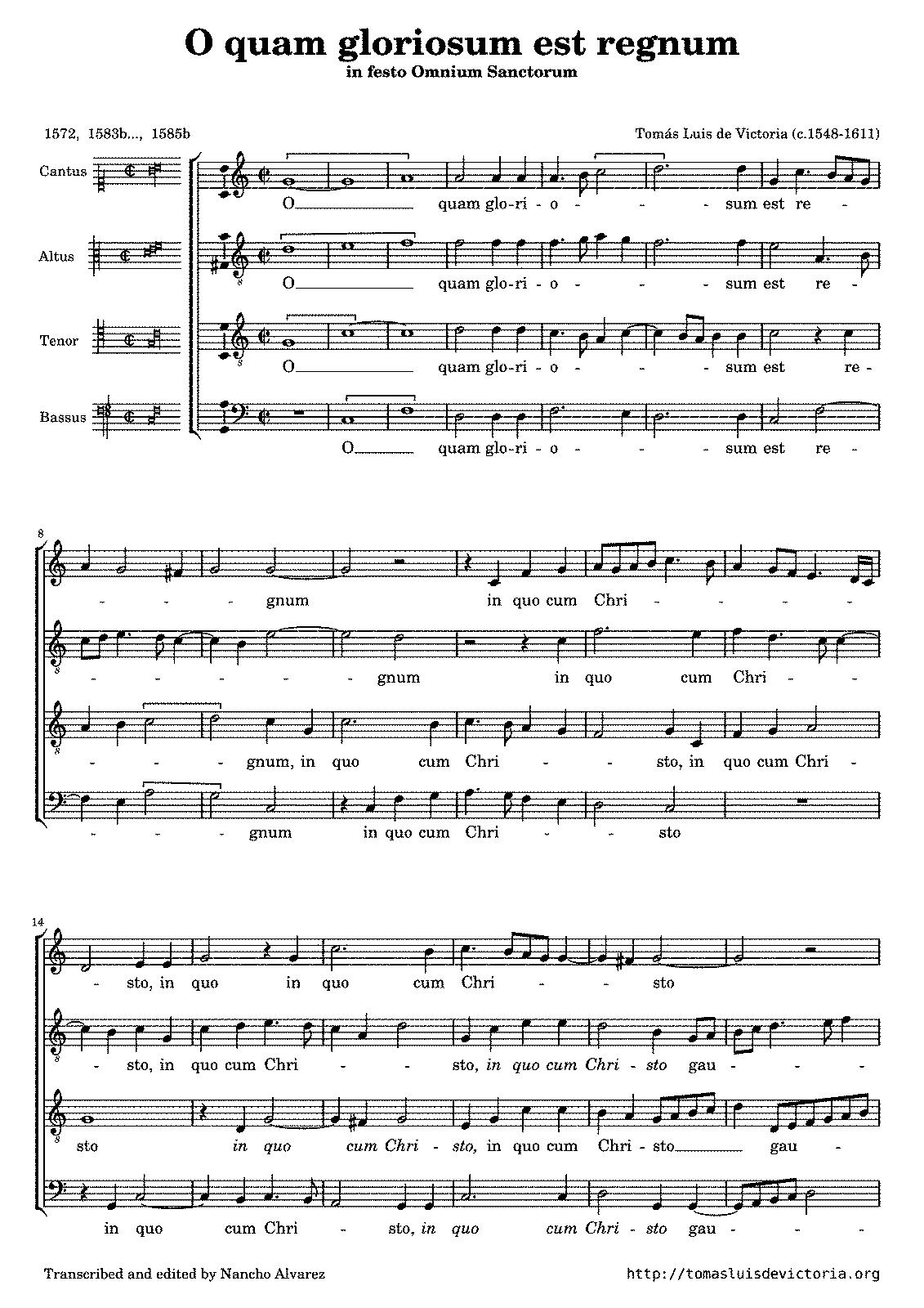 O quam gloriosum est regnum victoria toms luis de imslp sheet music hexwebz Gallery