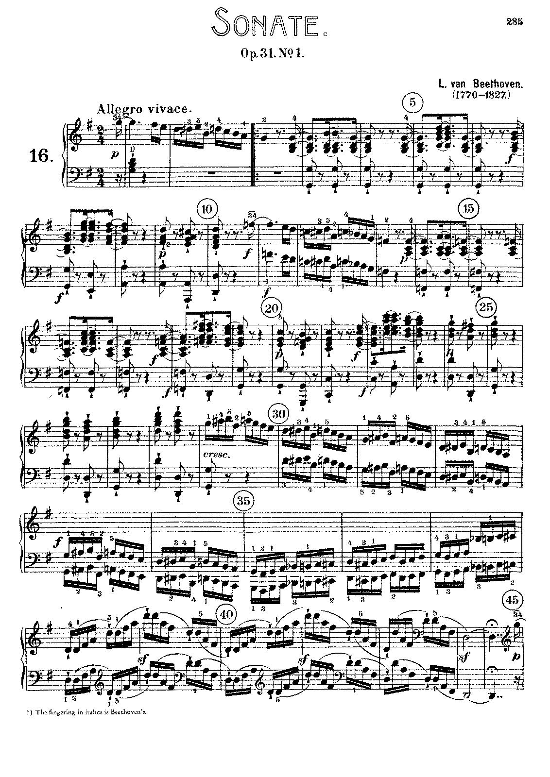 Souvent Piano Sonata No.16, Op.31 No.1 (Beethoven, Ludwig van) - IMSLP  YV27