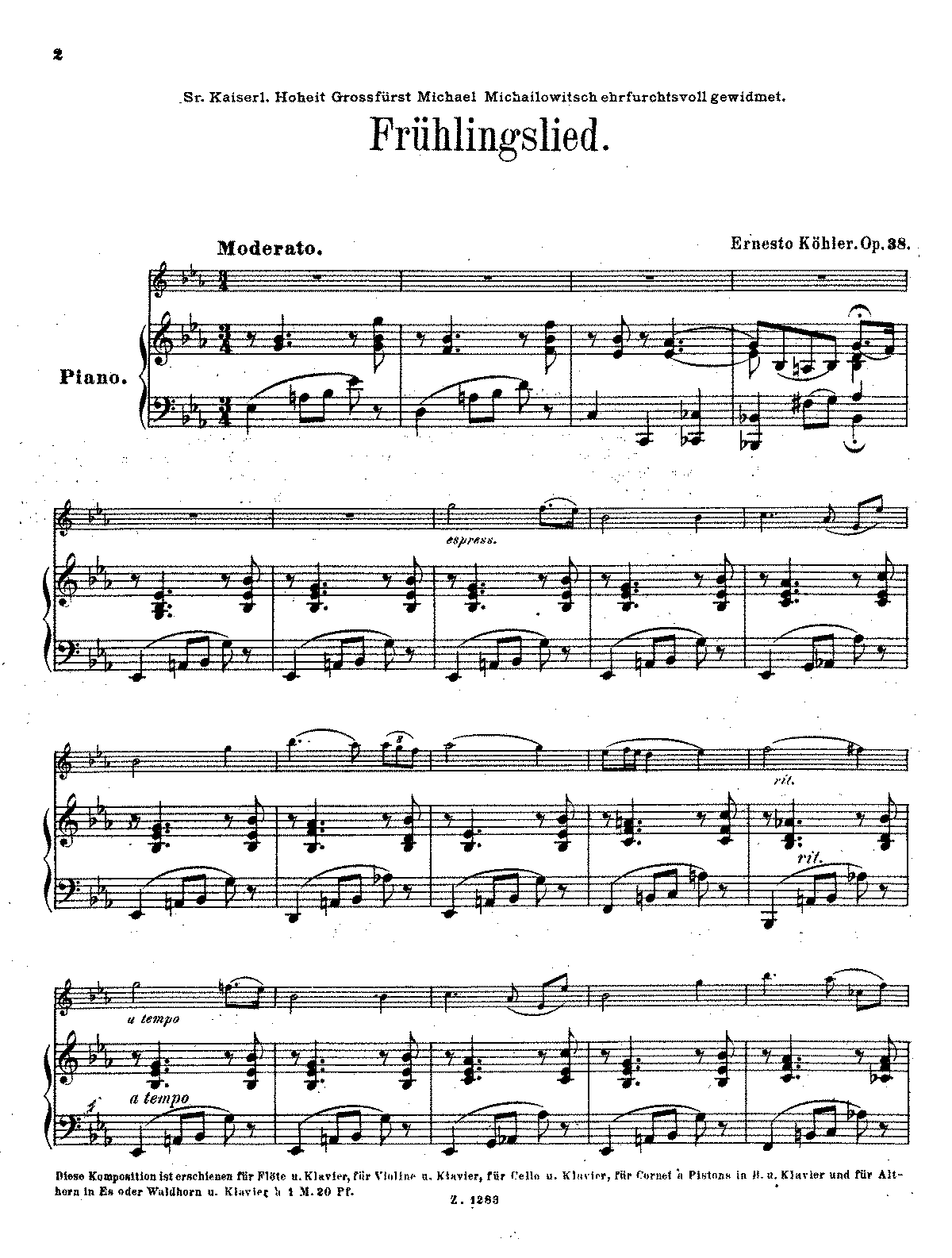 PMLP96759-Kohler - Fruhlingslied Op38 violin (flute)(Cello) and piano.pdf