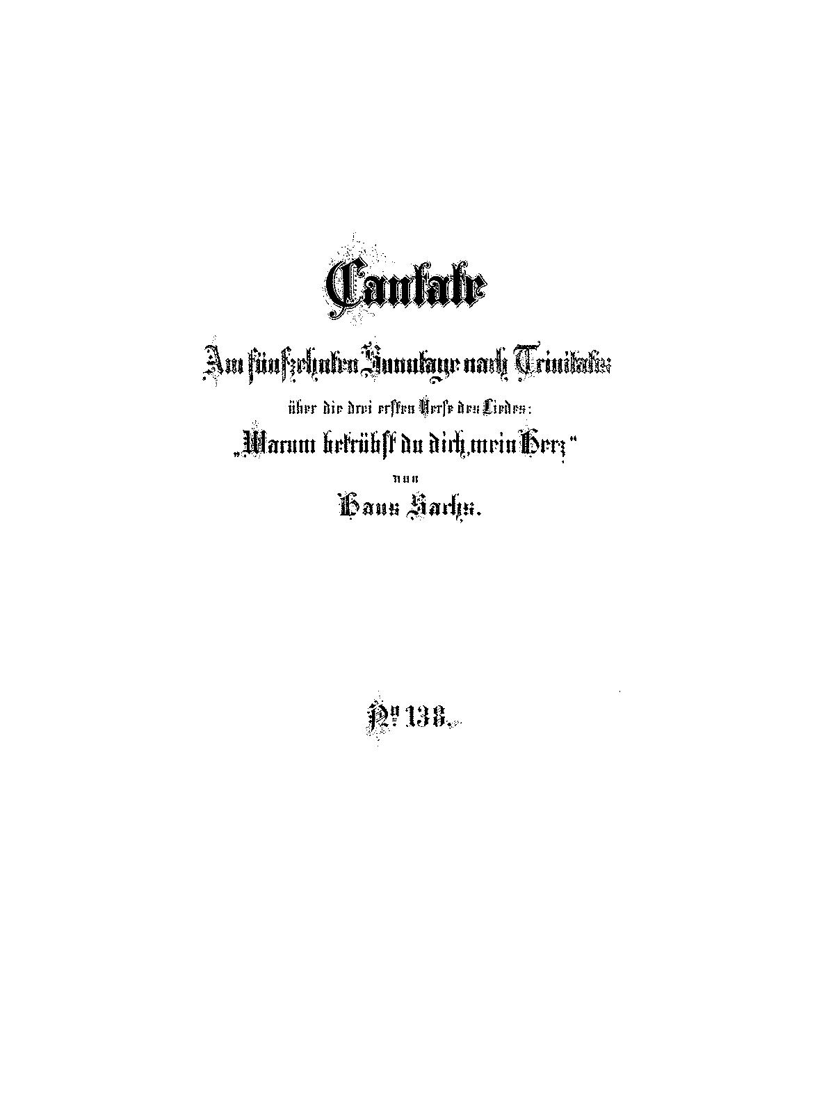 Warum betrübst du dich, mein Herz, BWV 138 (Bach, Johann Sebastian ...