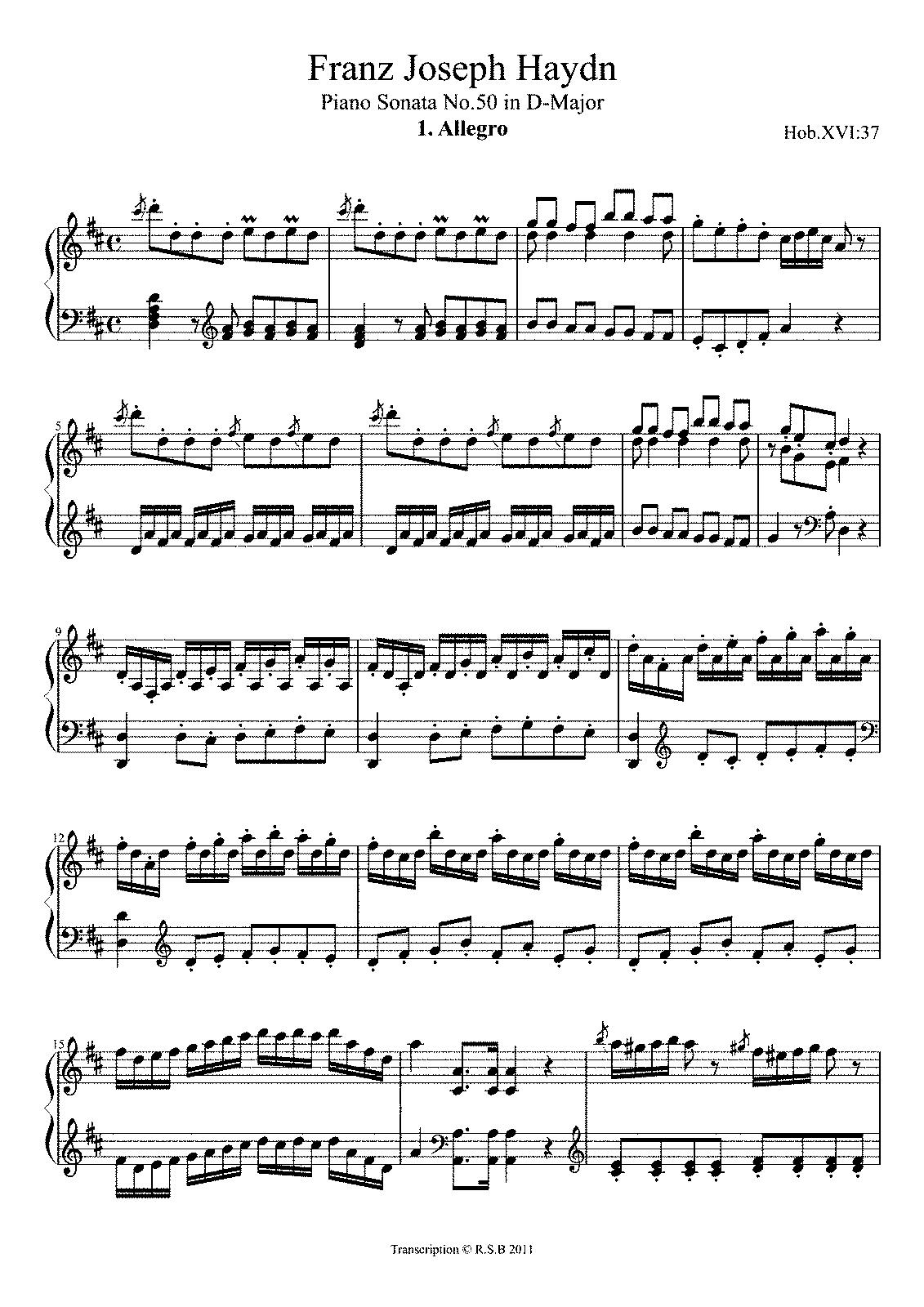 sonata in re maggiore haydn biography