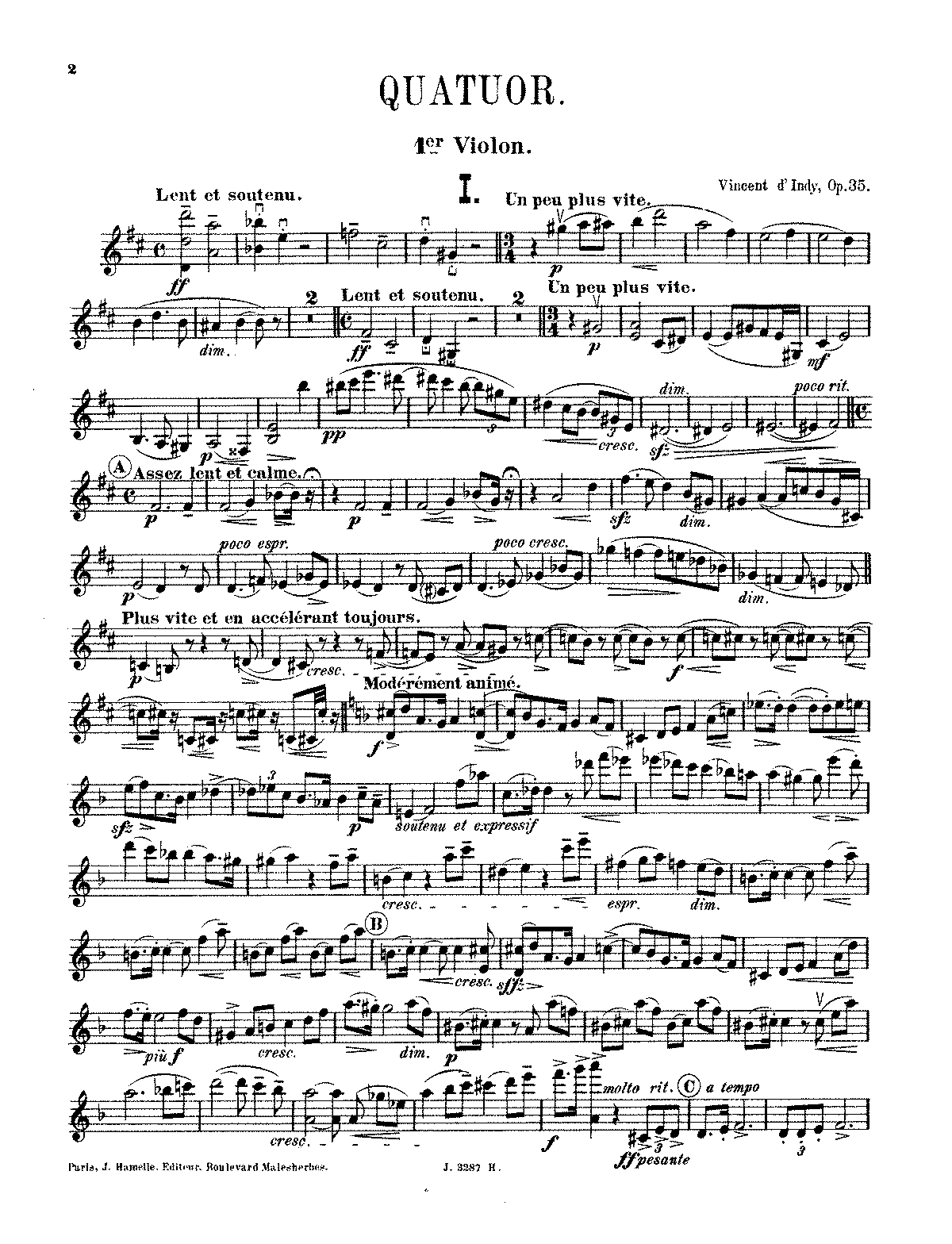 D'Indy - String Quartet No. 1, Op. 35 (parts).pdf