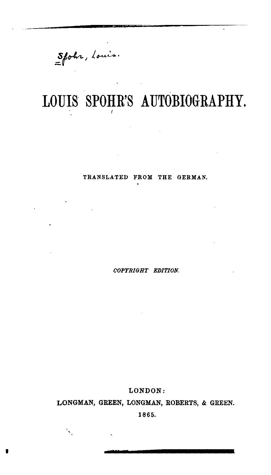 Louis Spohr s Selbstbiographie Spohr Louis IMSLP Petrucci