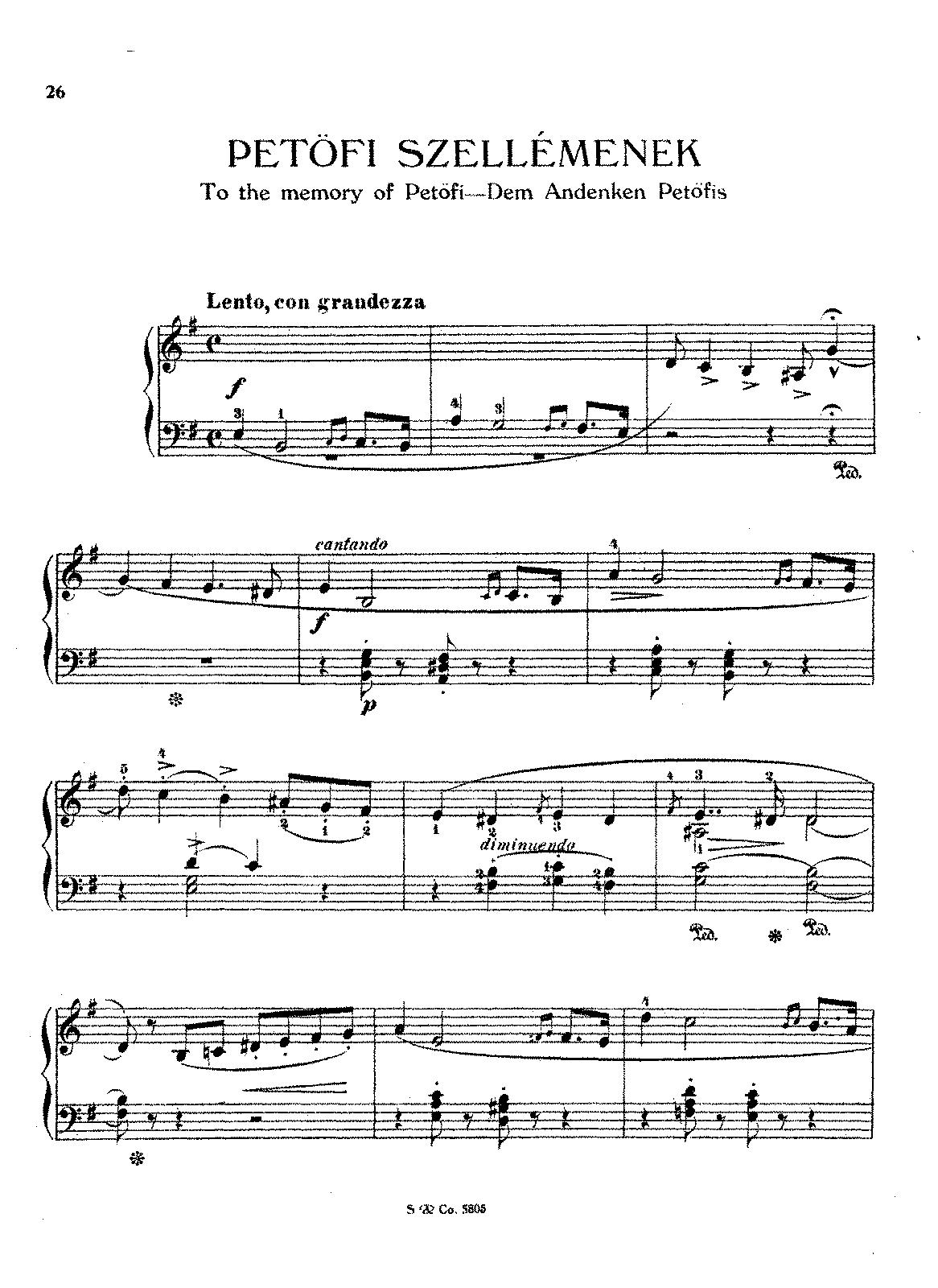Bien-aimé Dem Andenken Petöfis, S.195 (Liszt, Franz) - IMSLP/Petrucci Music  VZ41