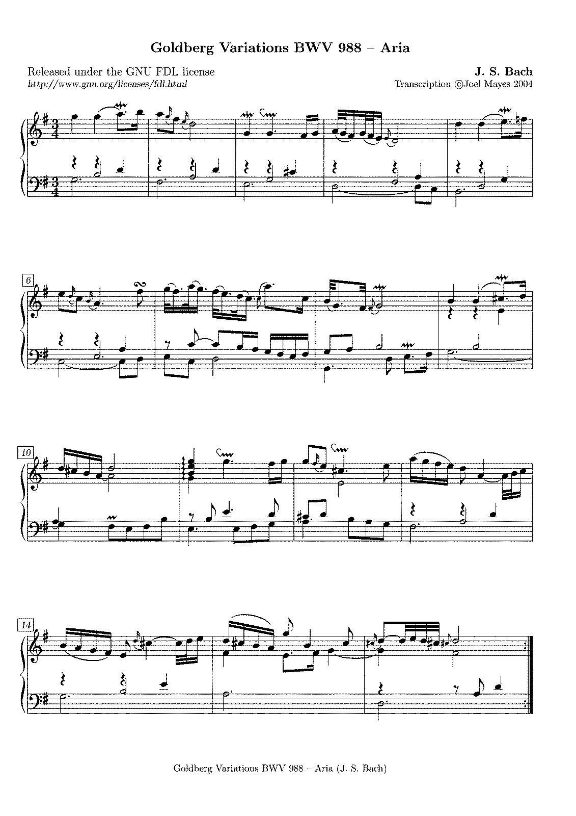 goldberg variationen bwv 988 bach johann sebastian imslp