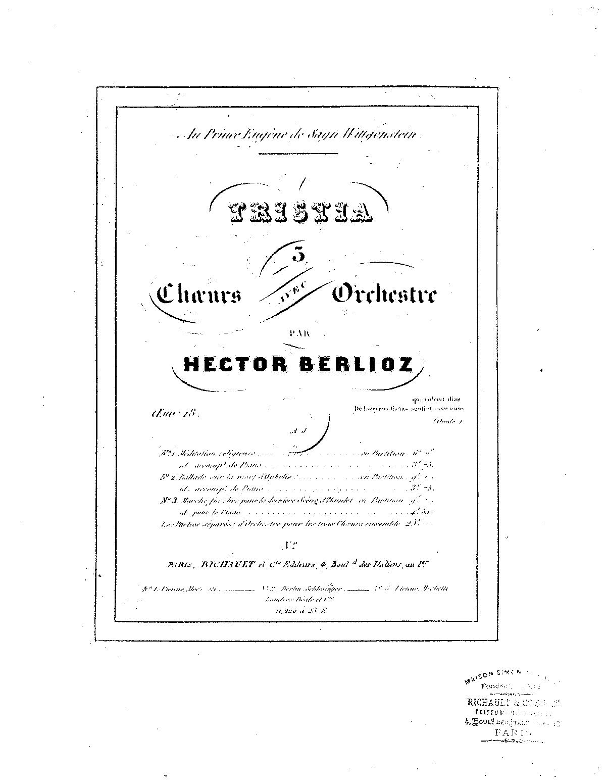 Tristia, Op.18, H 119 (Berlioz, Hector) - IMSLP/Petrucci ...