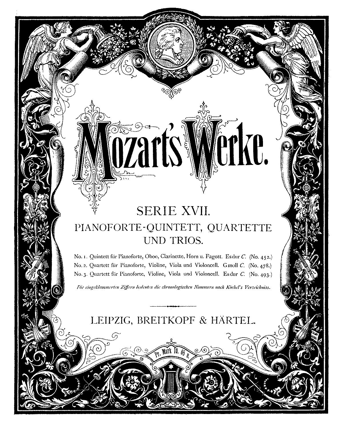 Mozart Lettere: Quintet In E-flat Major, K.452 (Mozart, Wolfgang Amadeus