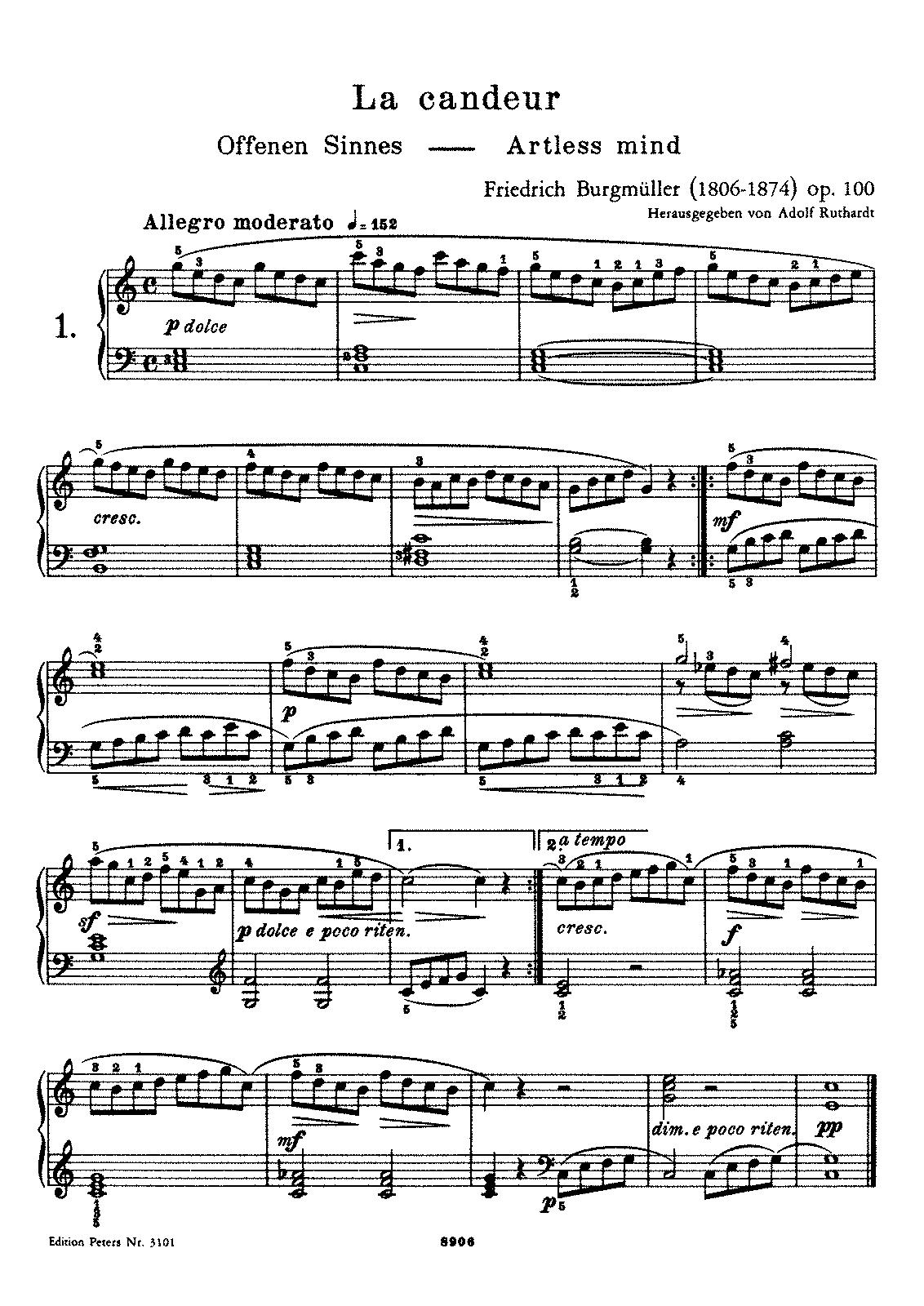 Скачать ноты бургмюллер песня пряхи