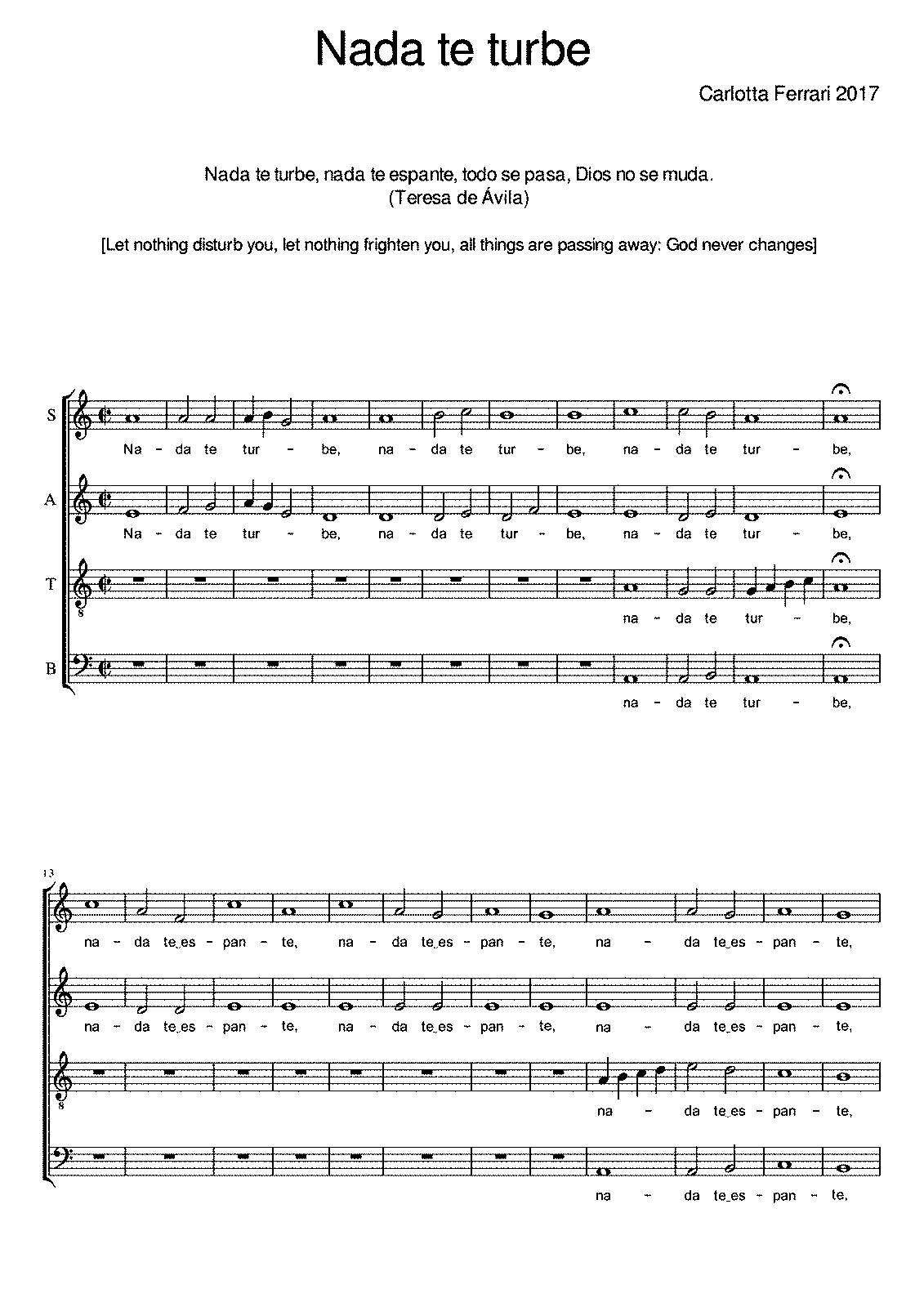 Nada te turbe (Ferrari, Carlotta) - IMSLP/Petrucci Music Library ...