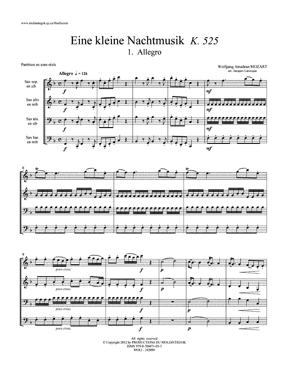eine kleine nachtmusik piano sheet music pdf