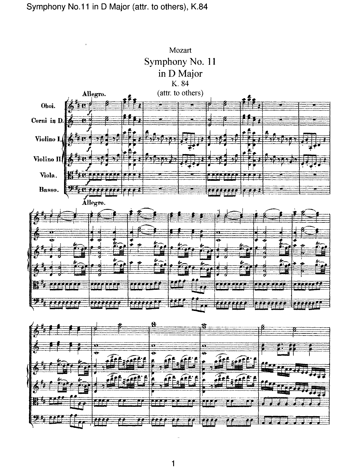 Mozart - Symphony No 11 in D Major (attr. to others), K.84.pdf