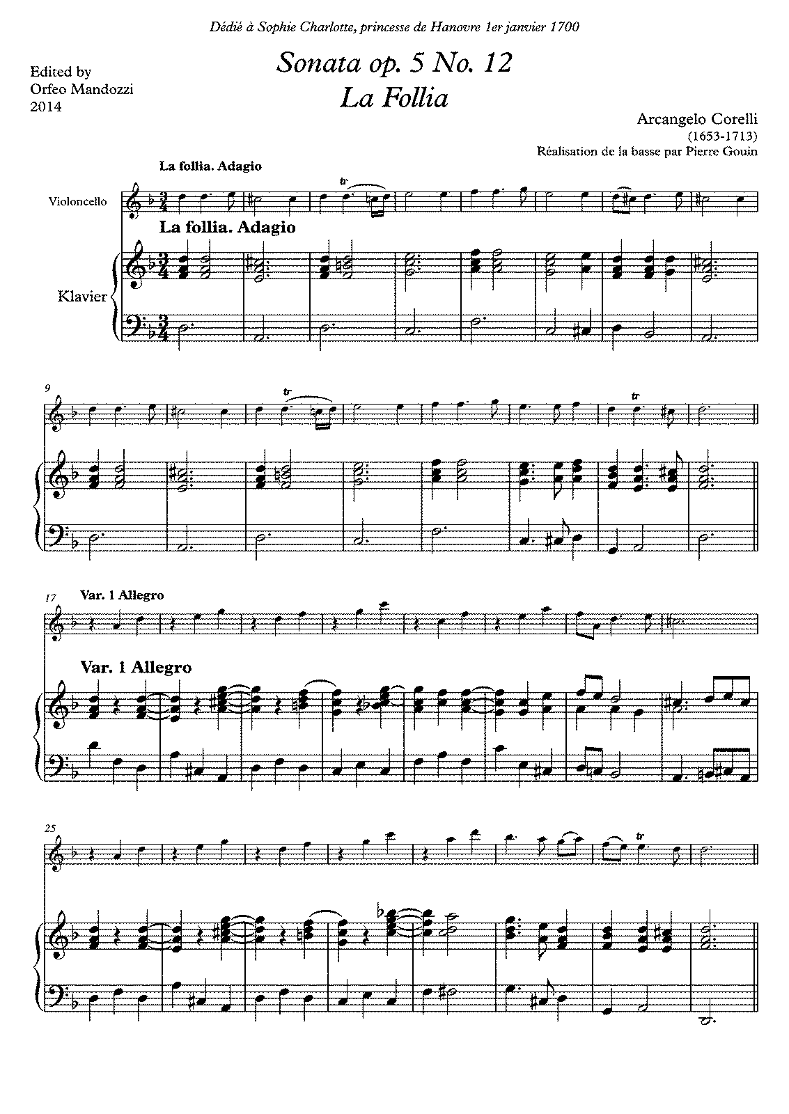 La Folia Suzuki Violin Sheet Music