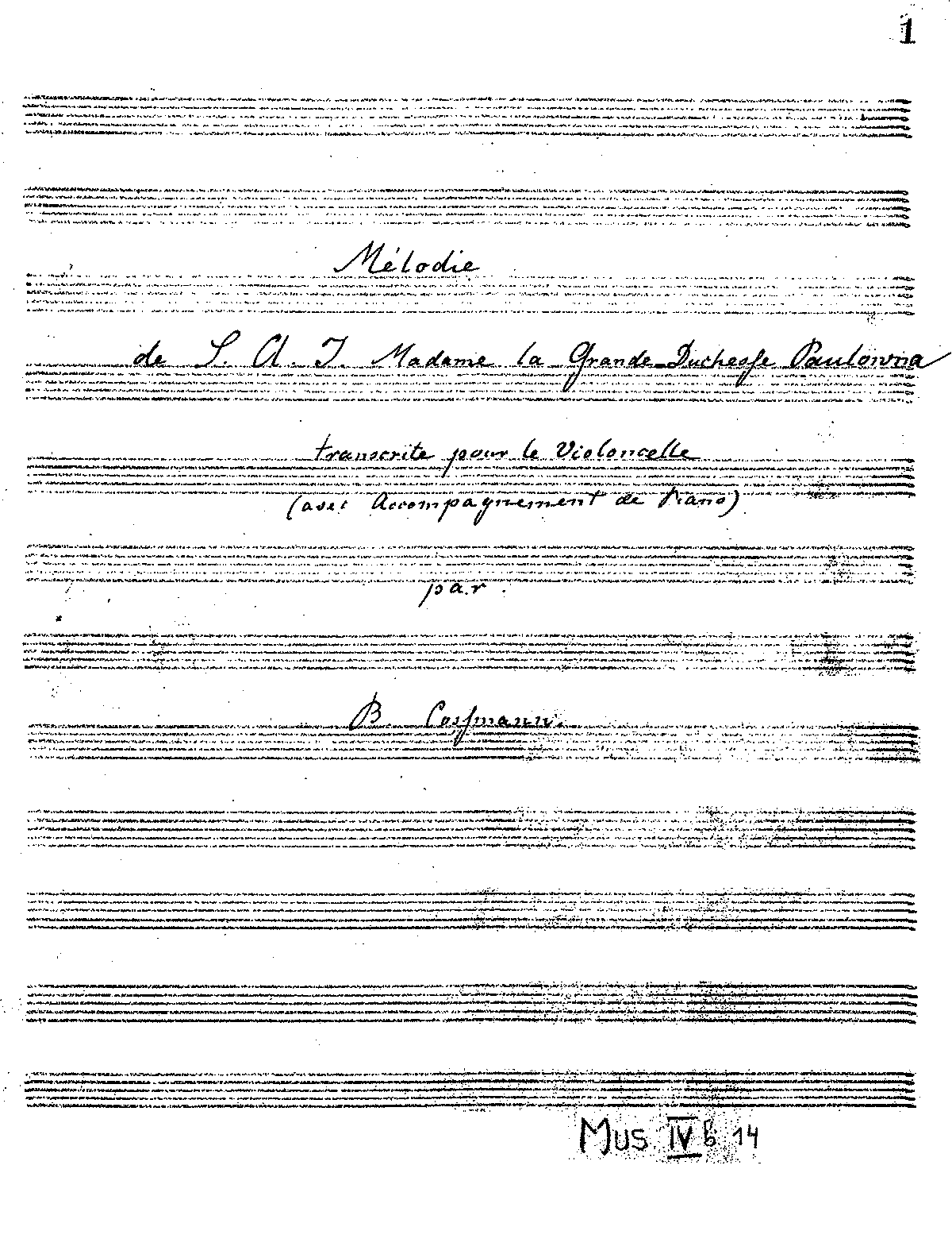 PMLP123855-Cossmann - Melodie of S A I Madame la Grande Duchesse Paulowna for Cello and Piano Manusc.pdf