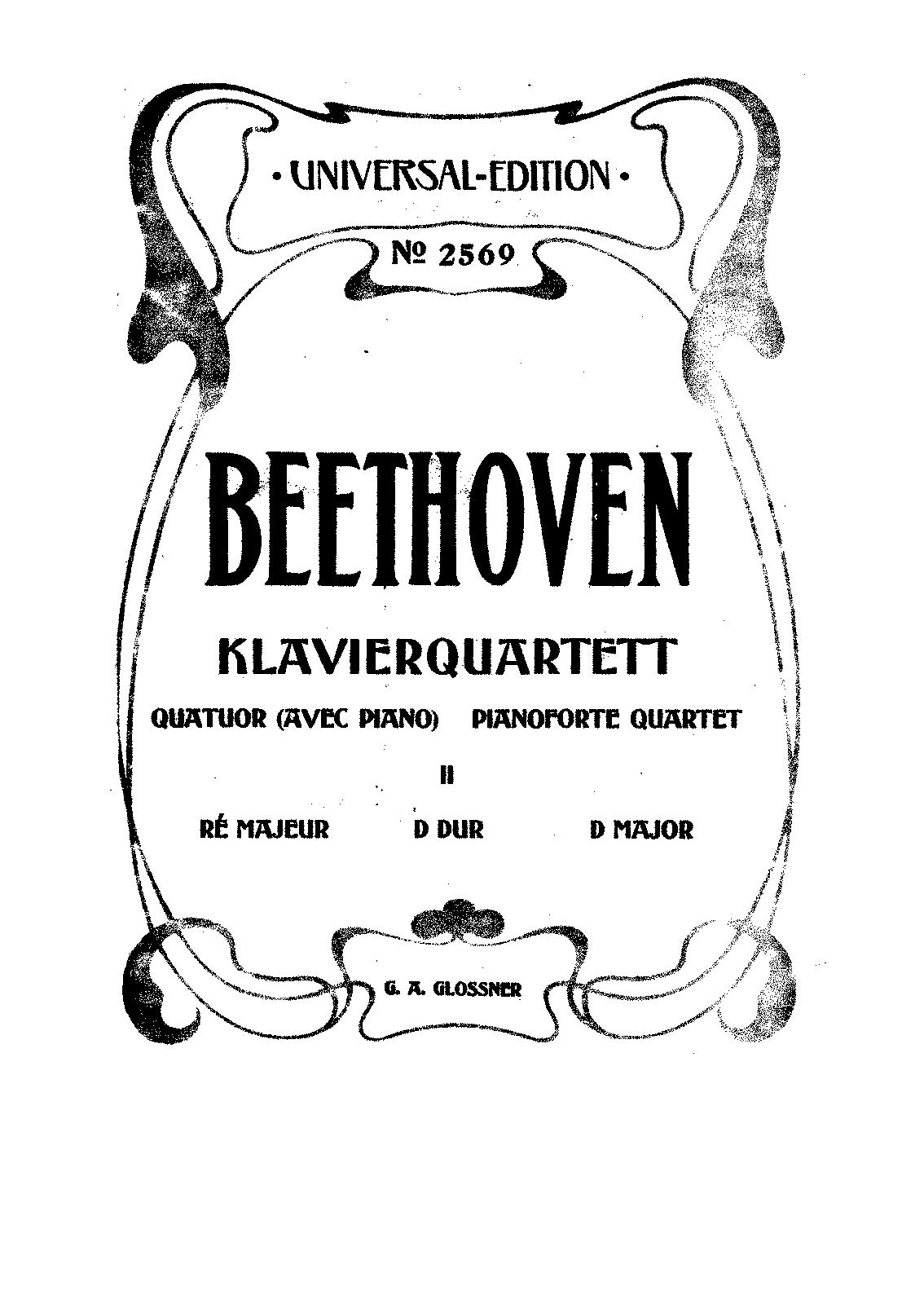 piano quartet no 2 in d major  woo 36  beethoven  ludwig