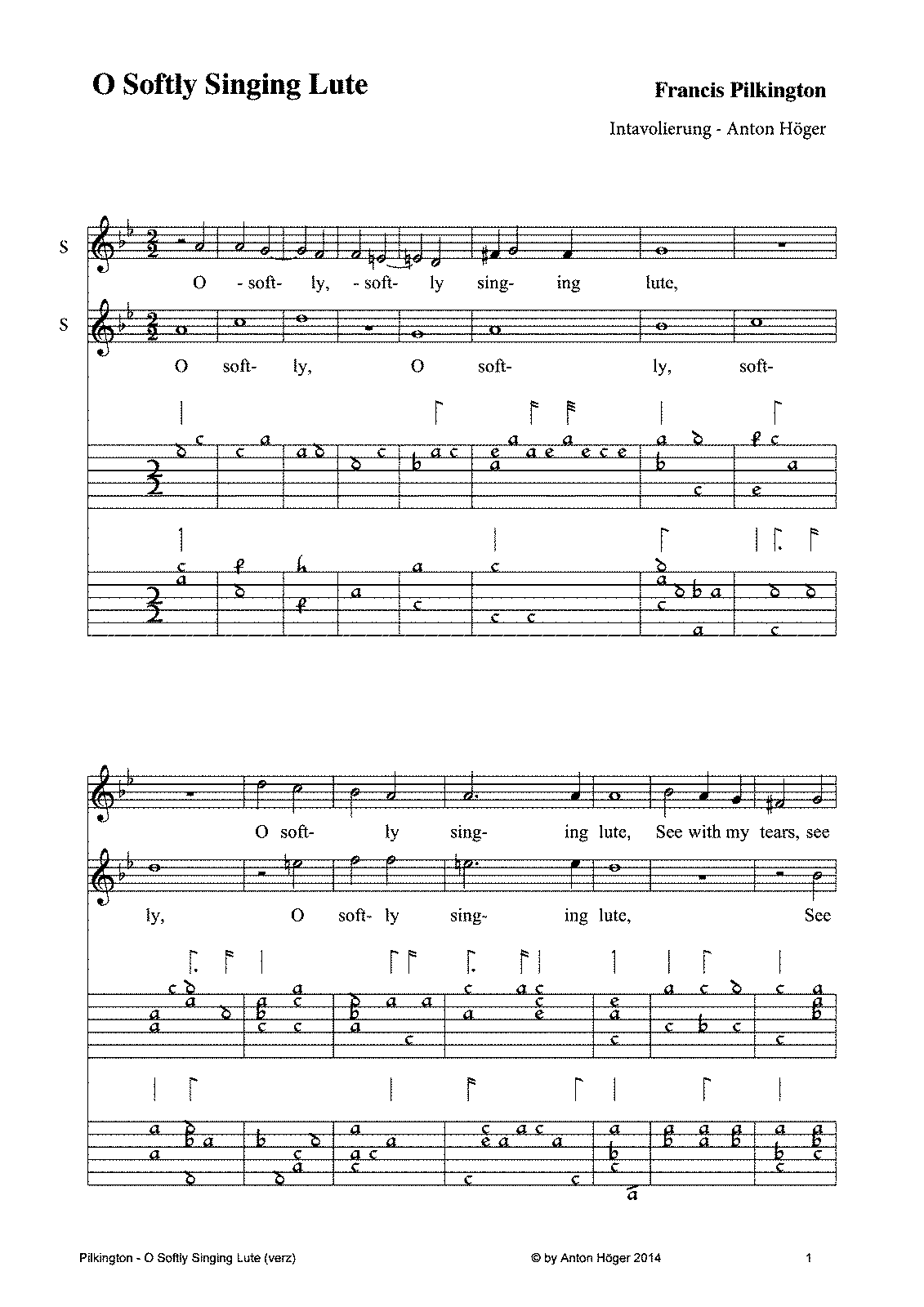 O Softly Singing Lute Pilkington Francis