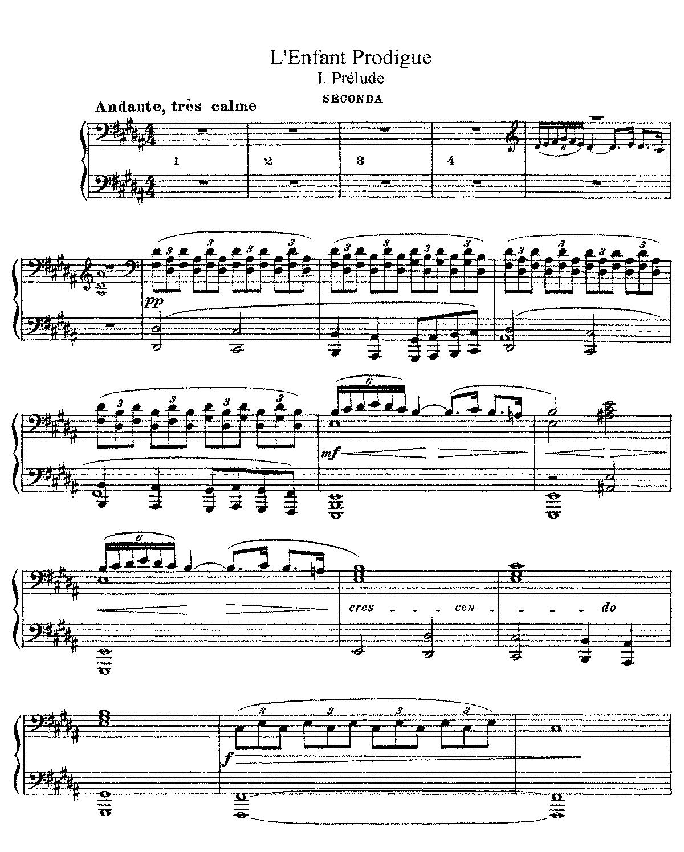 Free Sheet Music Public Domain: L'enfant Prodigue (Debussy, Claude)