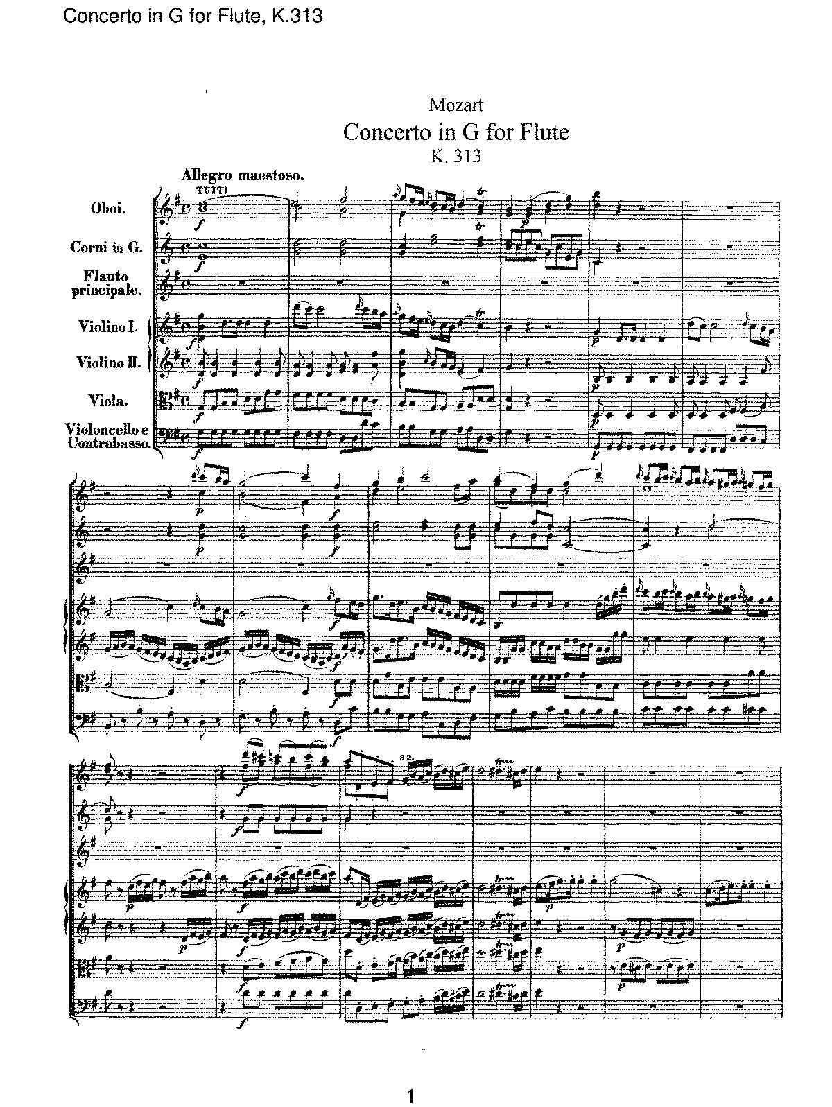 Flute Concerto in G major, K.313/285c (Mozart, Wolfgang Amadeus ...