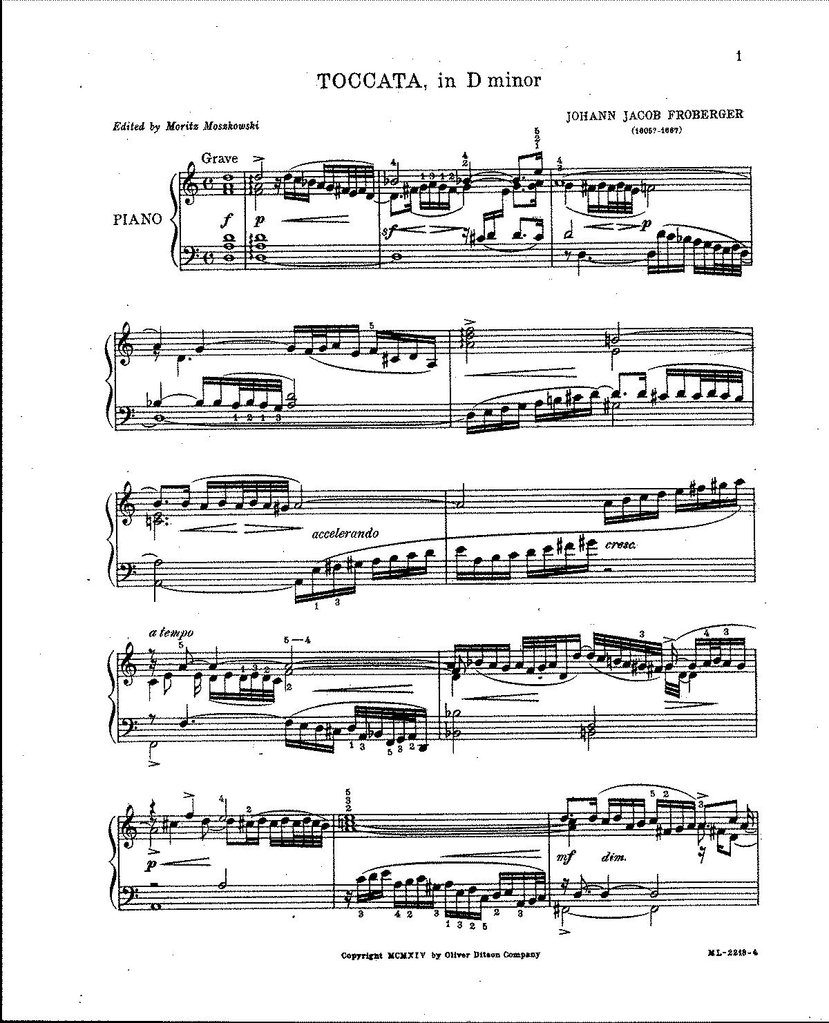 Free Sheet Music Public Domain: Toccatas (Froberger, Johann Jacob)
