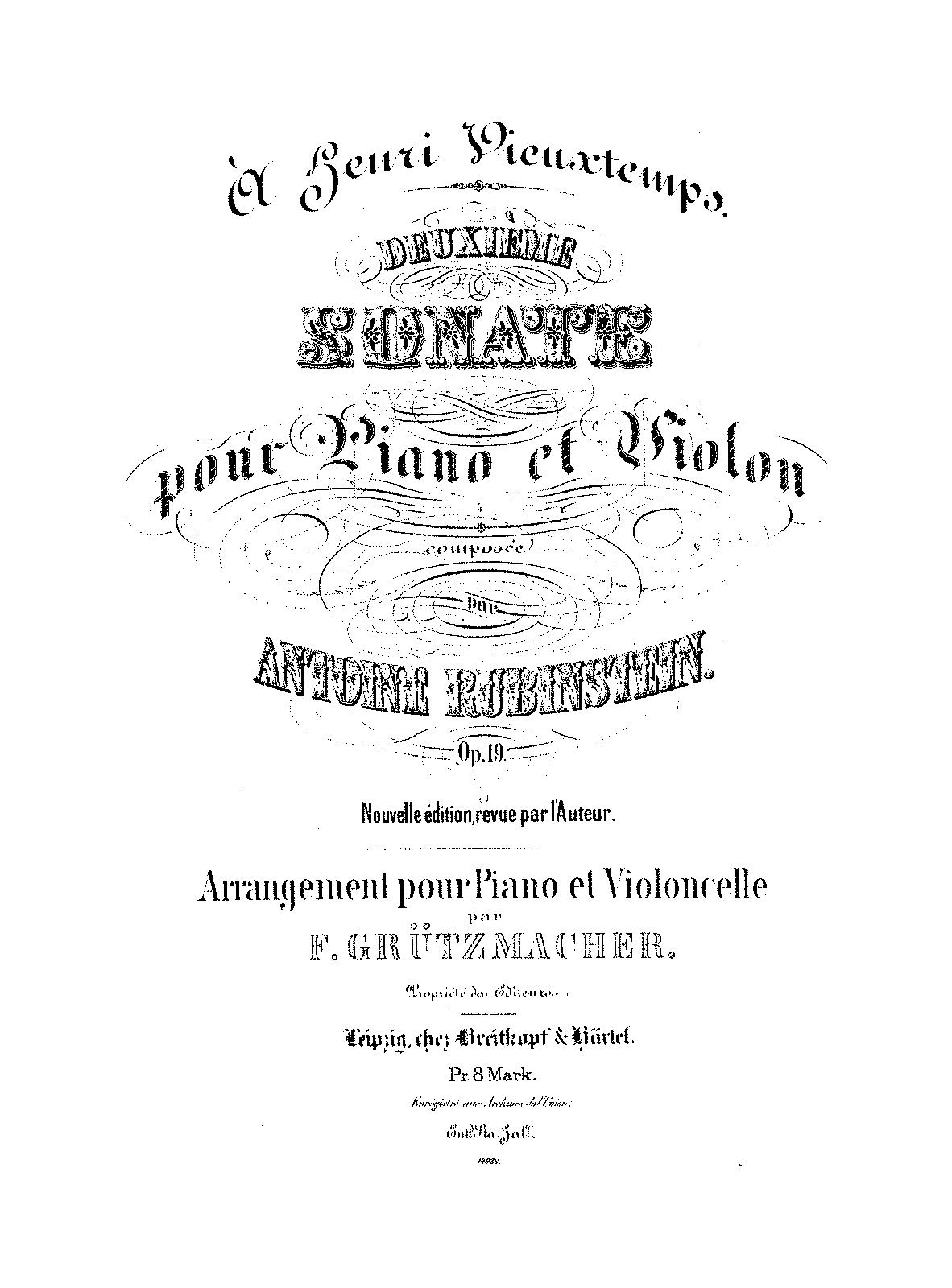Cancer Sign Quotes Violin Sonata No.2 Op.19 Rubinstein Anton  Imslppetrucci