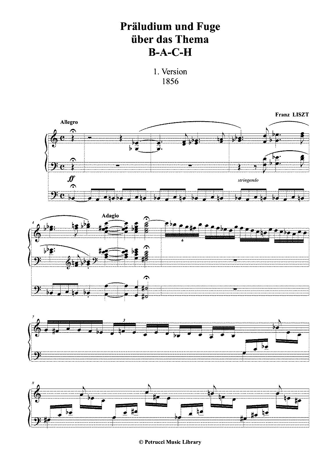 Präludium und Fuge über den Namen BACH, S.260 (Liszt, Franz) - IMSLP ...