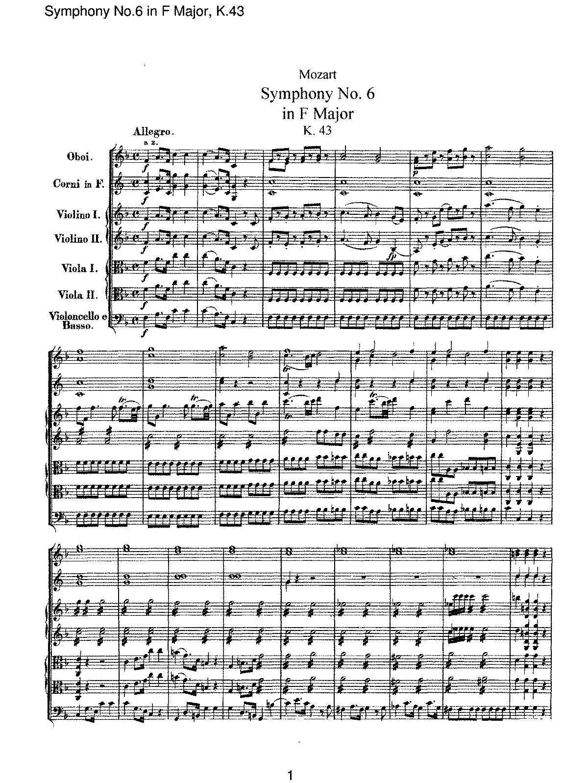 Symphony no6 in f major k43 mozart wolfgang amadeus imslp sheet music hexwebz Images