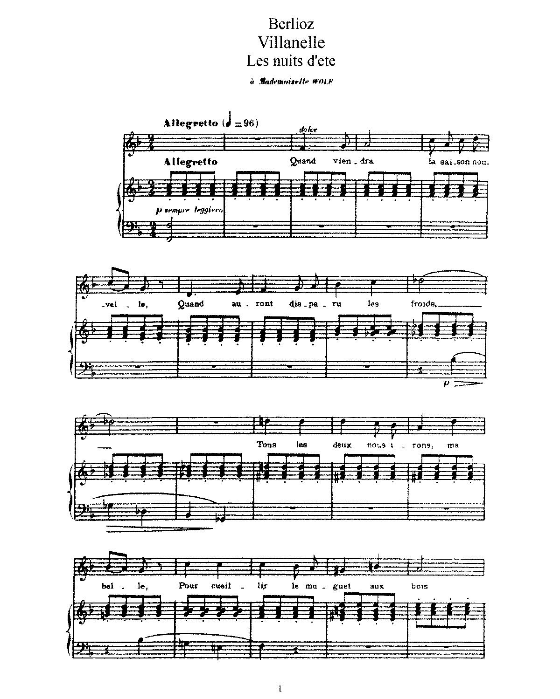 Free Sheet Music Public Domain: Villanelle, H 82 (Berlioz, Hector)