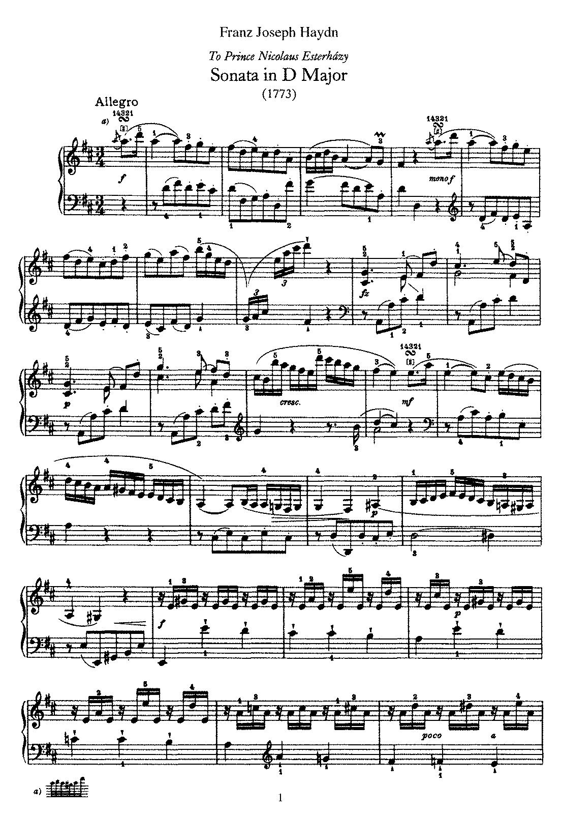 Keyboard Sonata In D Major HobXVI24 Haydn Joseph
