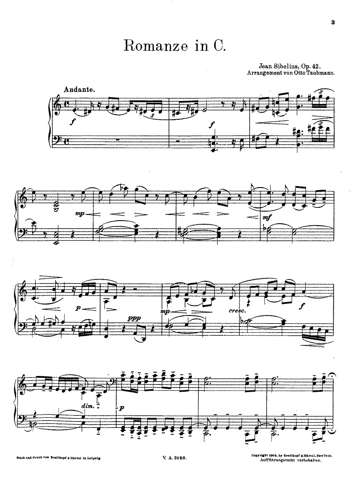 Sibelius - Romance in C for string orchestra, Op.42 (trans. Taubmann - piano).pdf