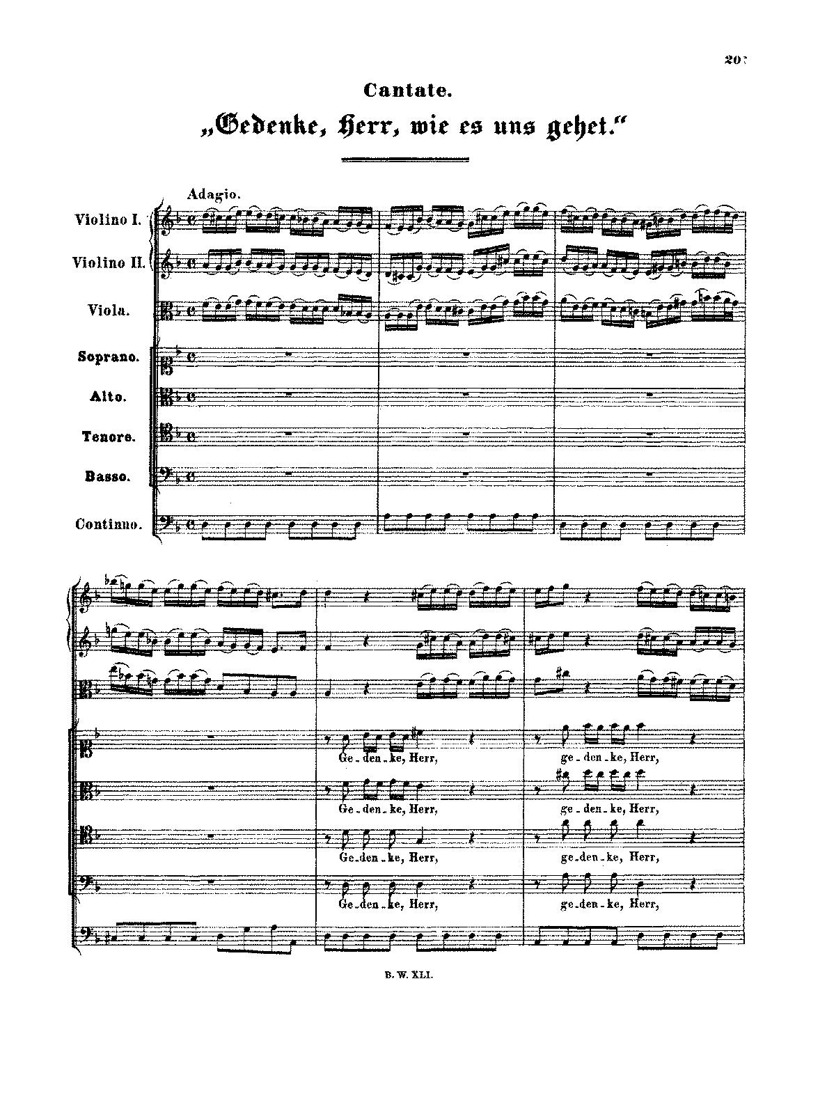 Gedenke, Herr, wie es uns gehet, BWV 217 (Bach, Johann Sebastian ...