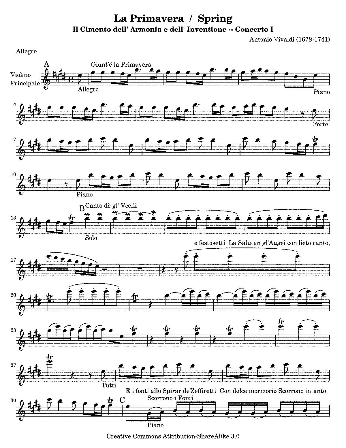 Vivaldi Spring Violin Piano Free Sheet Music - vivaldi ...
