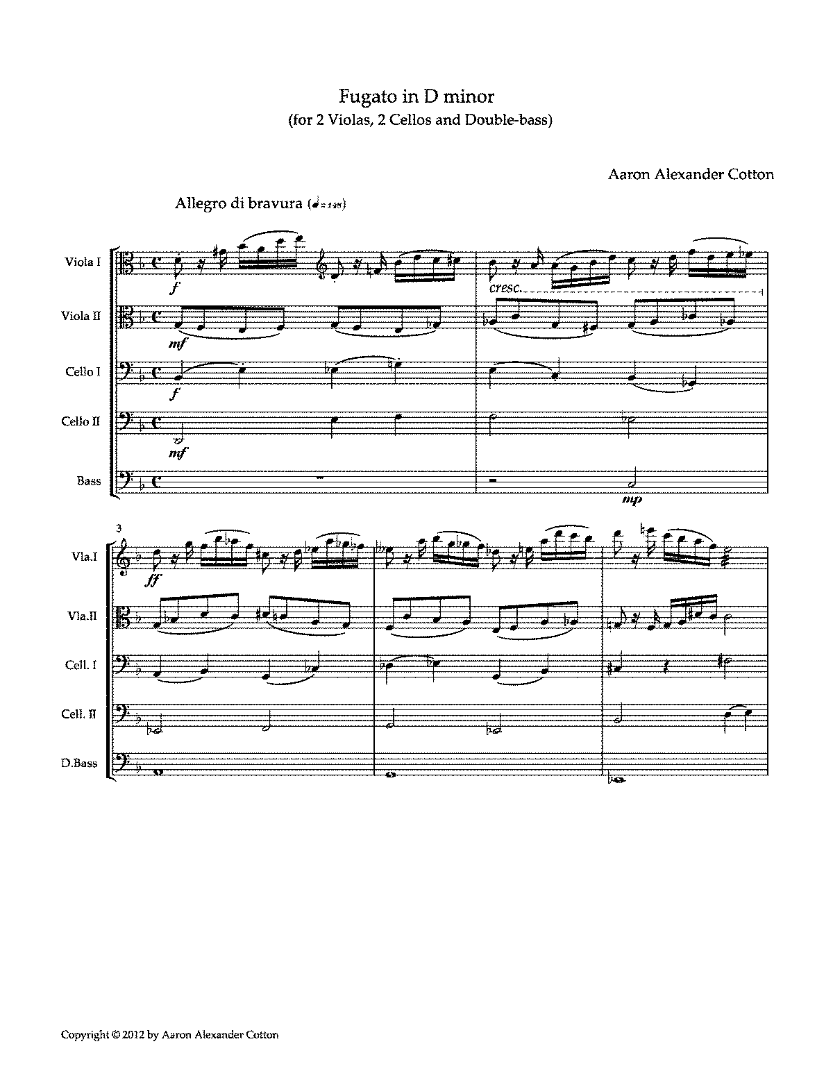 PMLP350864-Fugato in D minor (for 2 Violas, 2 Cellos and Double-bass) by Aaron Alexander Cotton.pdf