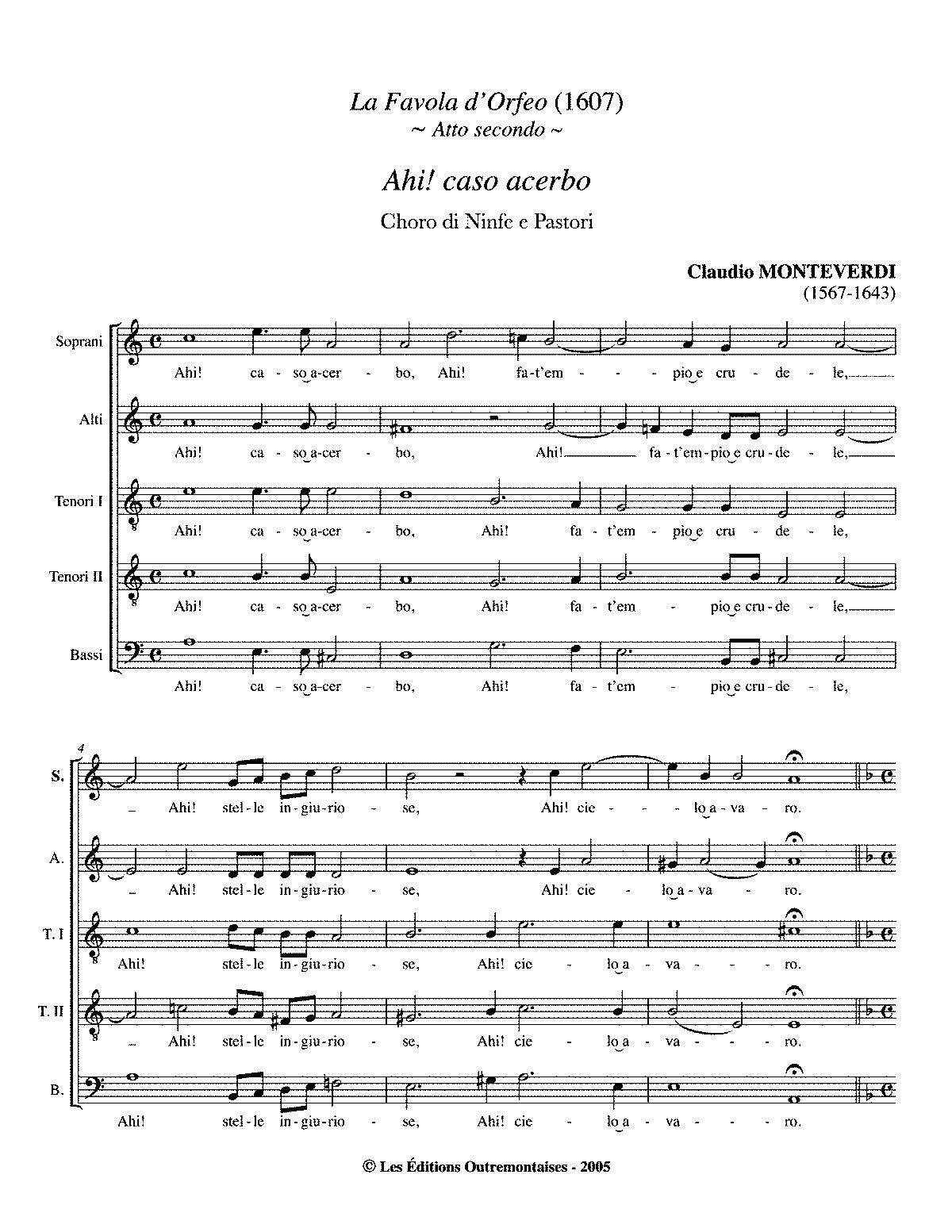 L\'Orfeo, SV 318 (Monteverdi, Claudio) - IMSLP/Petrucci Music Library ...