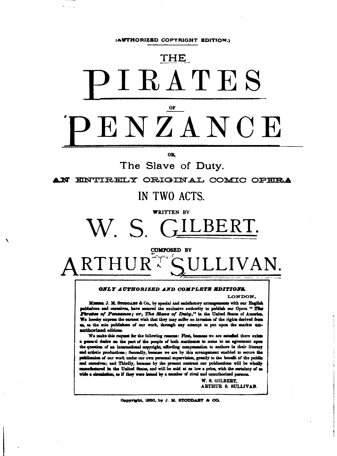 an analysis of the opera pirates of penzance by arthur sullivan A production guide to the operatic works of w s gilbert and arthur sullivan home production of the pirates of penzance, when he benford's lexicon will.