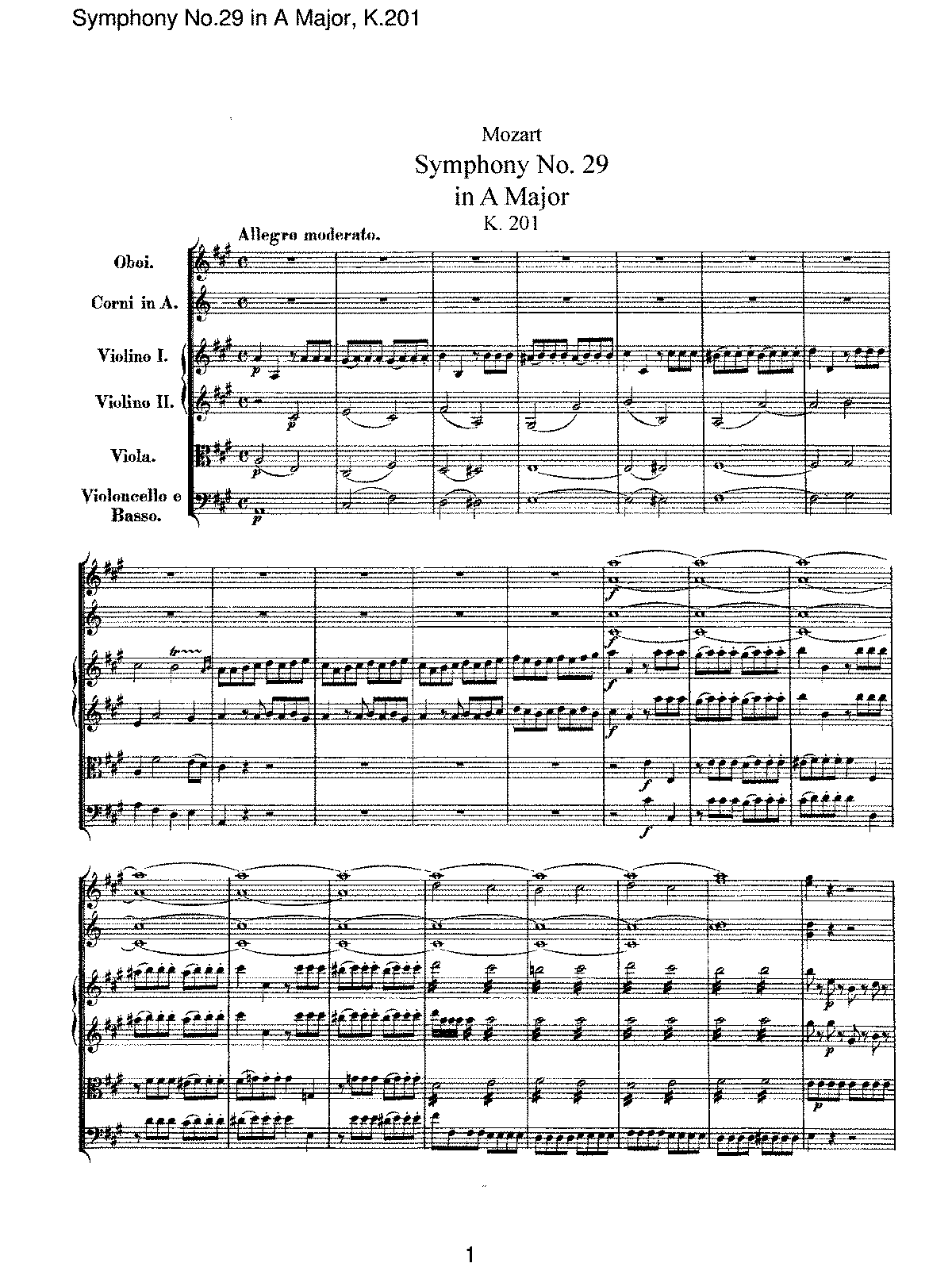 Mozart - Symphony No 29 in A Major, K201.pdf