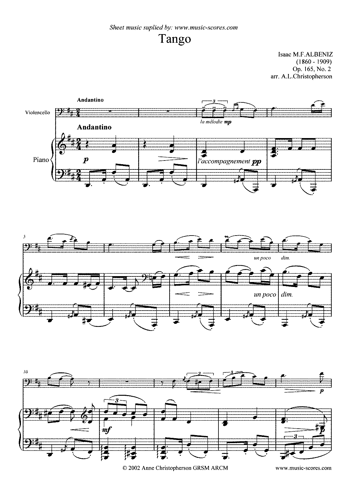 Albeniz - Tango, op. 165, no.2 (Cello & Piano).pdf