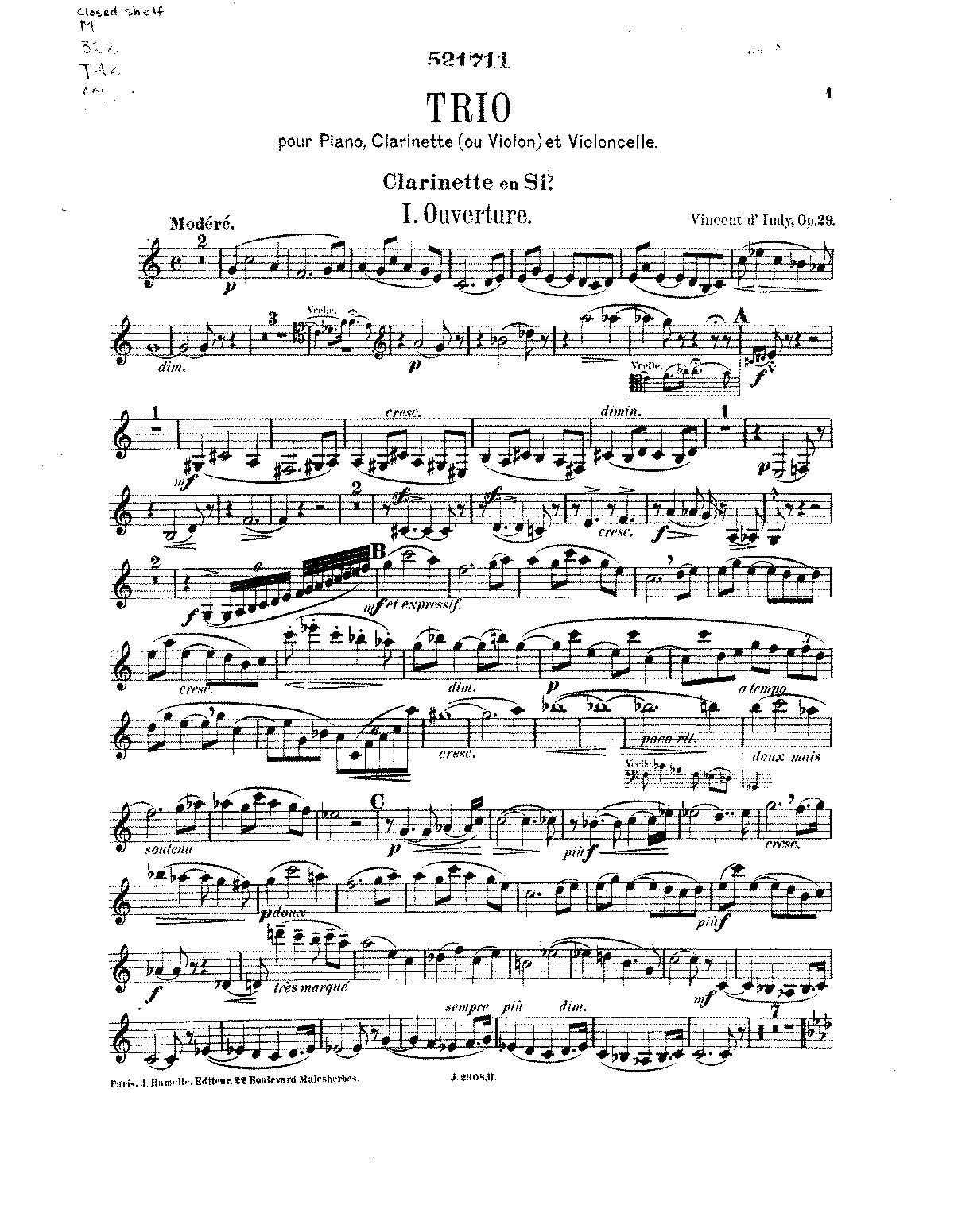 D'Indy - Trio for Piano, Clarinet, and Cello, Op. 29.pdf