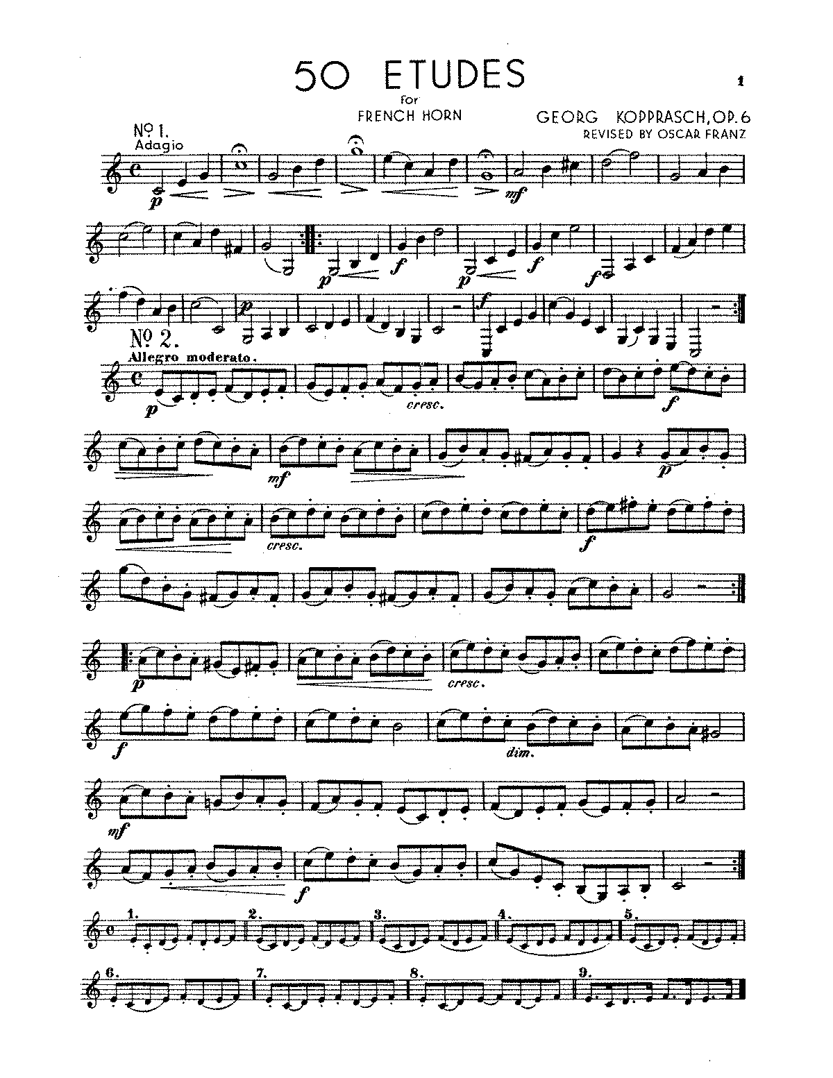 etudes for low horn op kopprasch georg petrucci arrangements and transcriptions