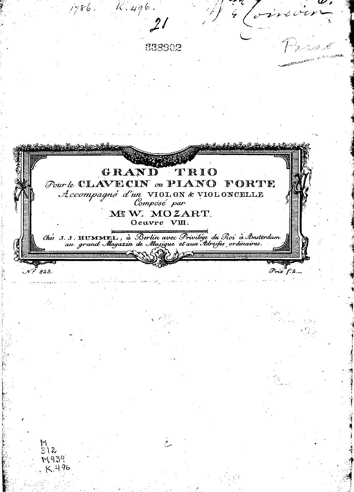 Piano Trio in G major, K.496 (Mozart, Wolfgang Amadeus) - IMSLP ...
