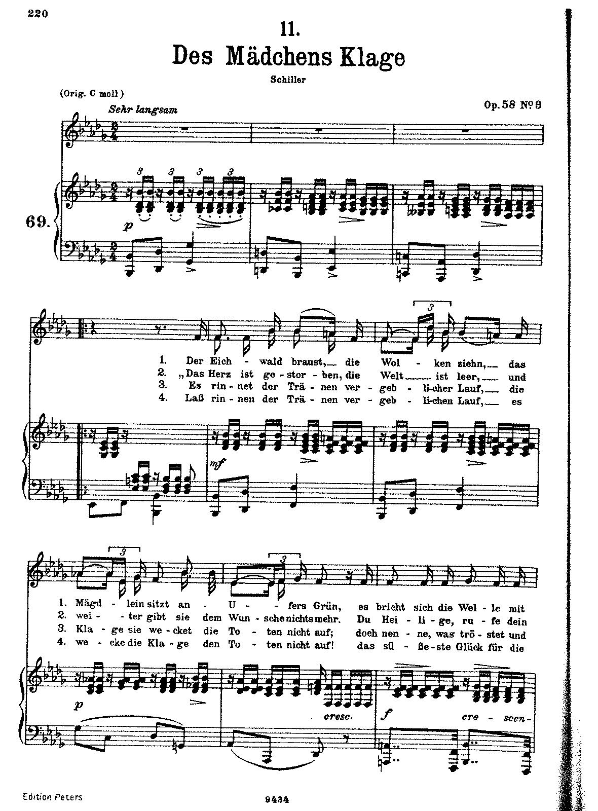 Des mdchens klage d191 schubert franz imslppetrucci music sheet music hexwebz Choice Image