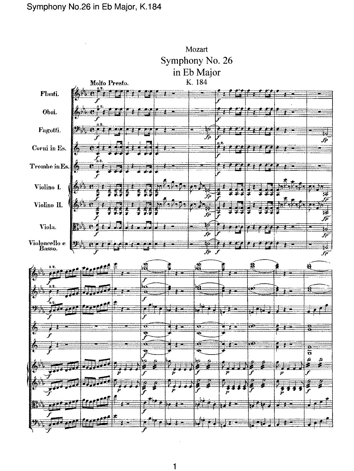Mozart - Symphony No 26 in Eb Major, K184.pdf