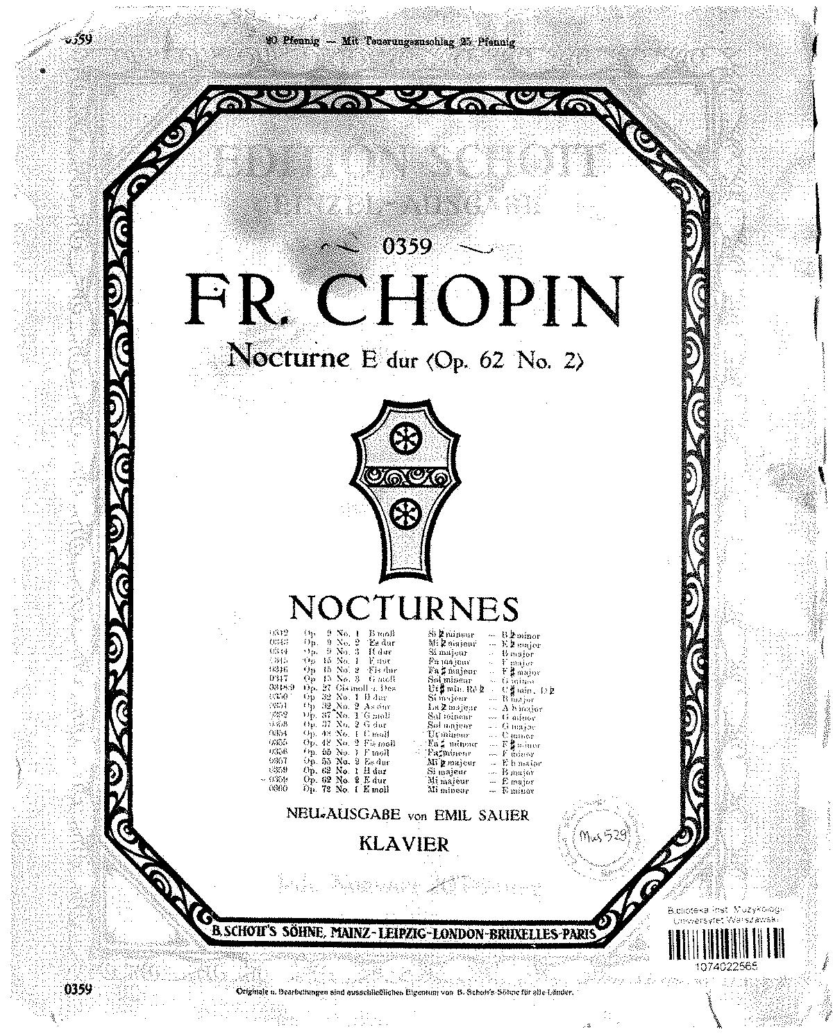 Free Sheet Music Public Domain: Nocturnes, Op.62 (Chopin, Frédéric)