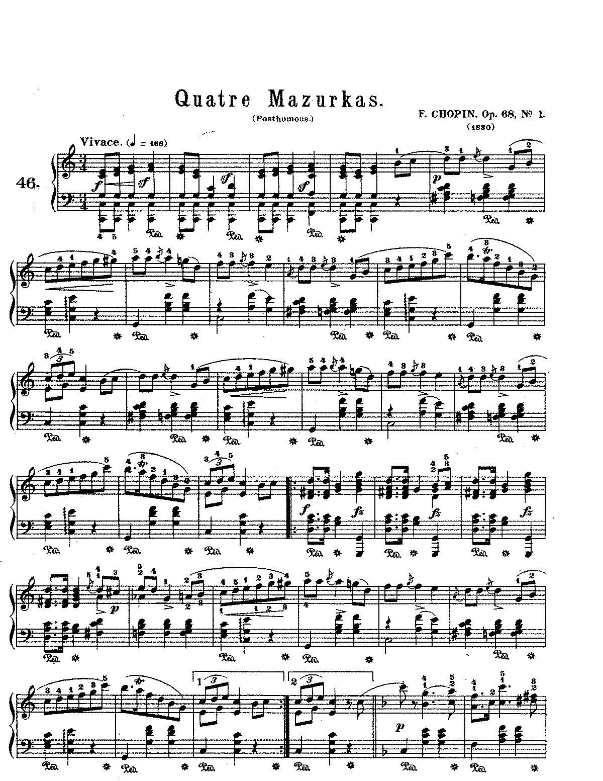 mazurkas op 68 chopin frédéric imslp petrucci music library