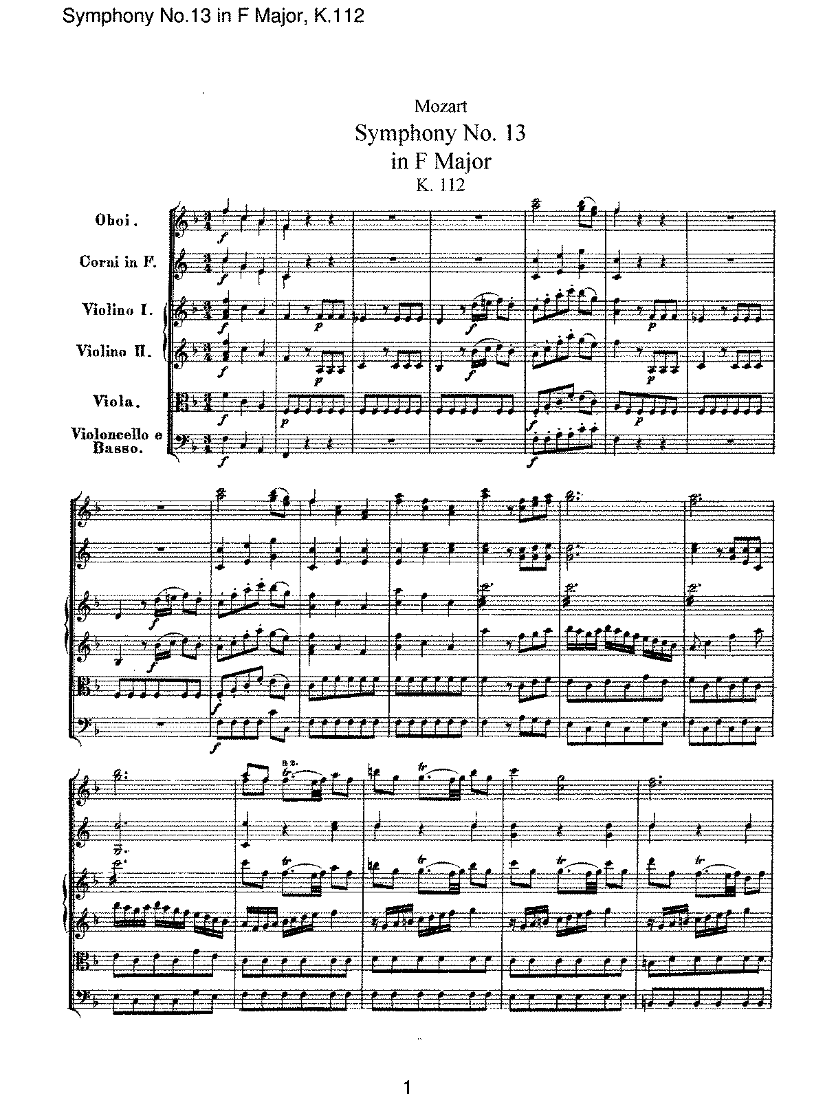 Mozart - Symphony No 13 in F Major, K112.pdf
