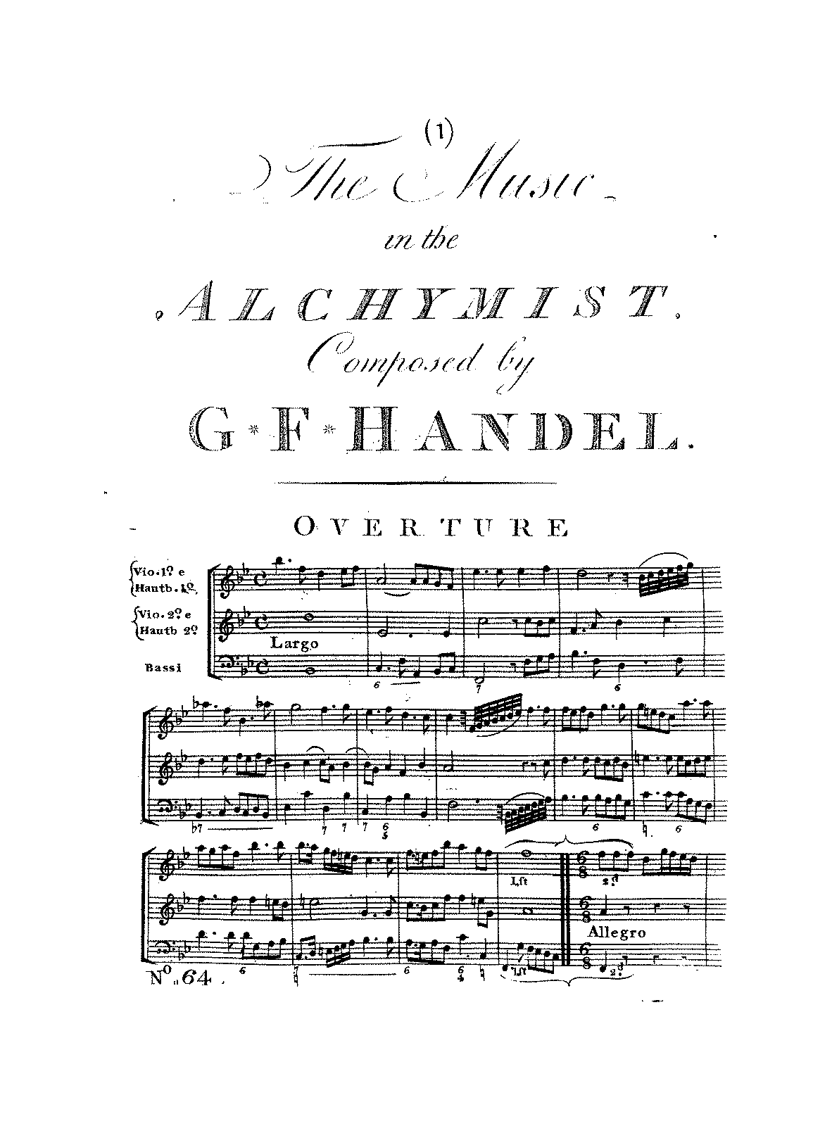 the alchemist hwv handel george frideric petrucci arrangements and transcriptions