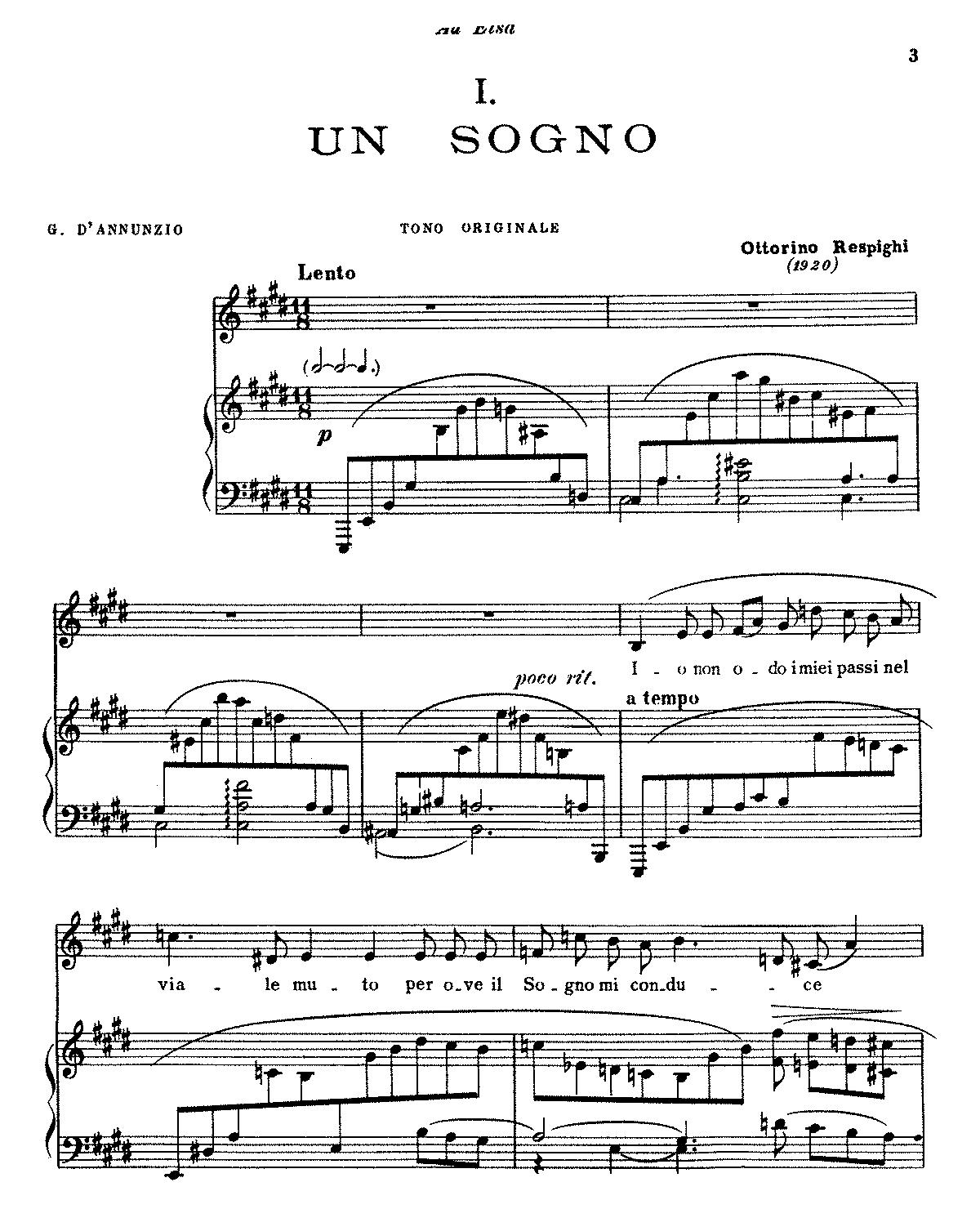 Free Sheet Music Public Domain: 4 Liriche (Respighi, Ottorino)